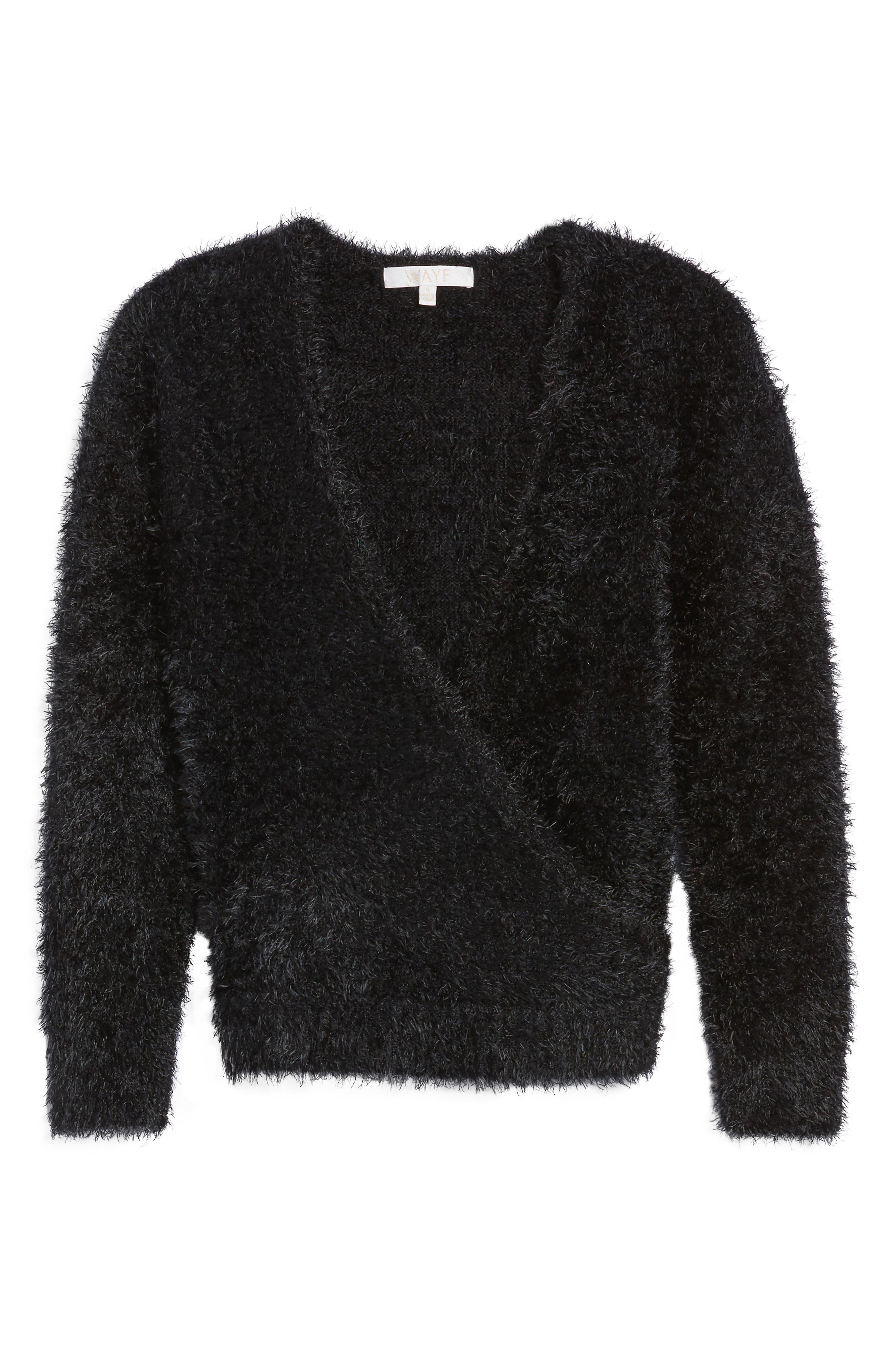 Fuzzy Surplice Sweater,                             Alternate thumbnail 6, color,                             Black