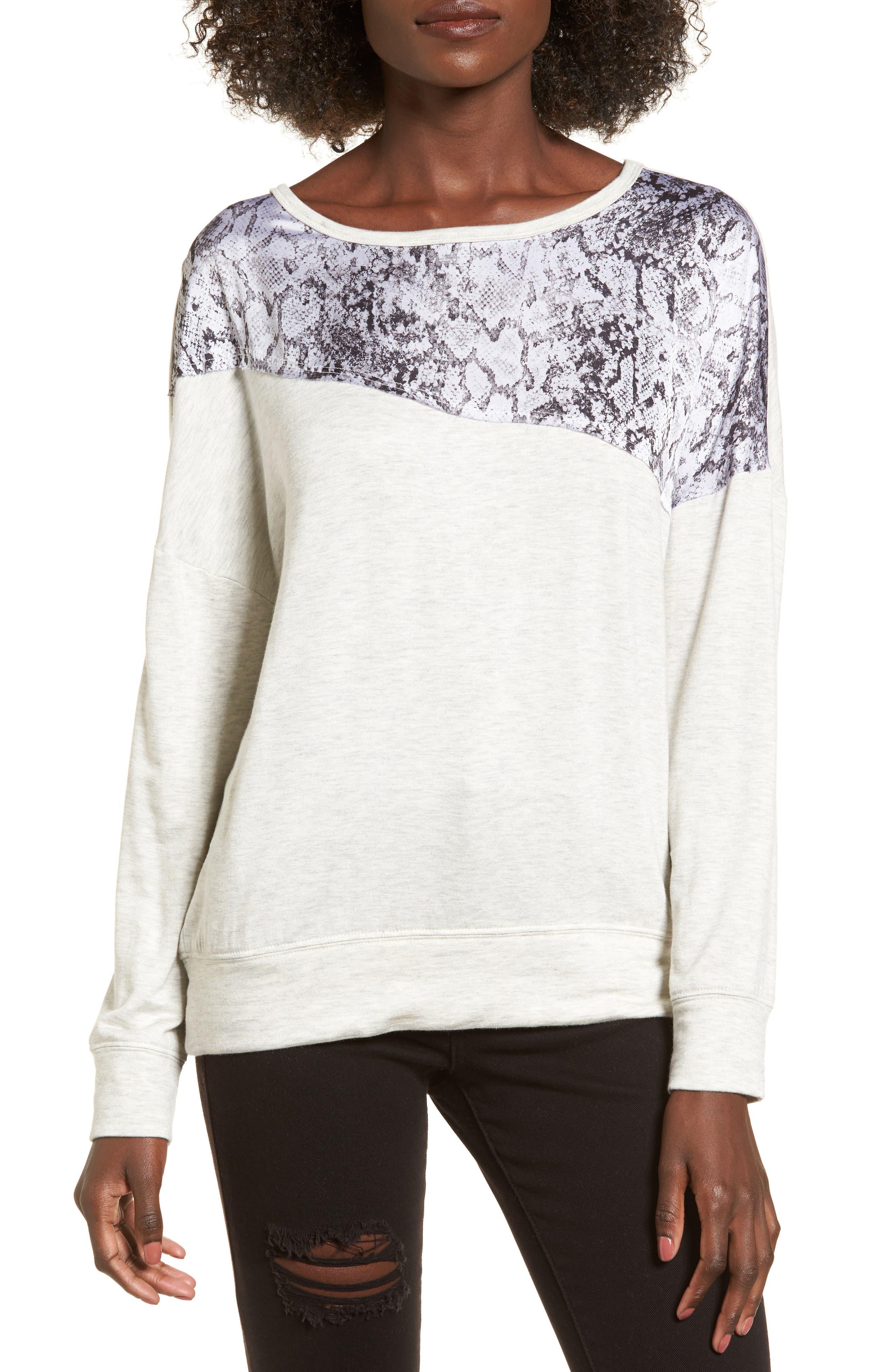 Snake Print Sweatshirt,                         Main,                         color, Light Grey