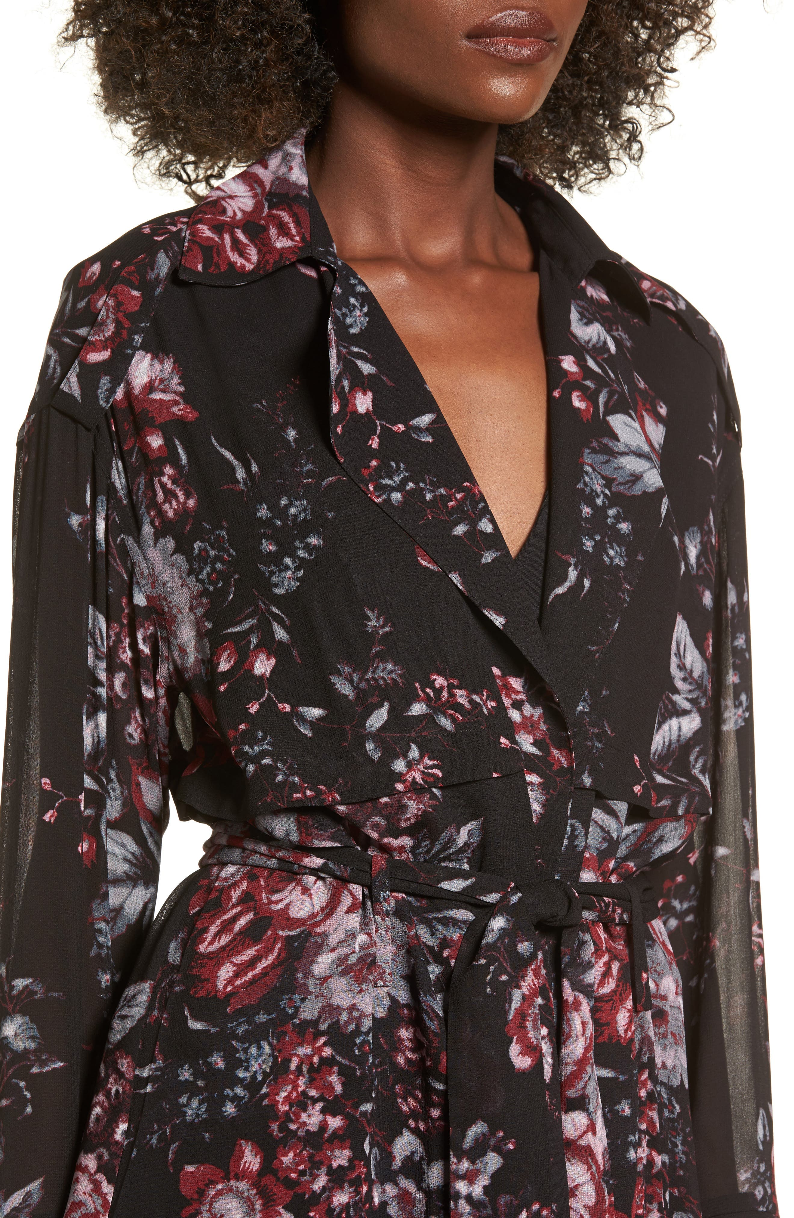 Floral Trench Coat,                             Alternate thumbnail 4, color,                             Black Photo Real Floral