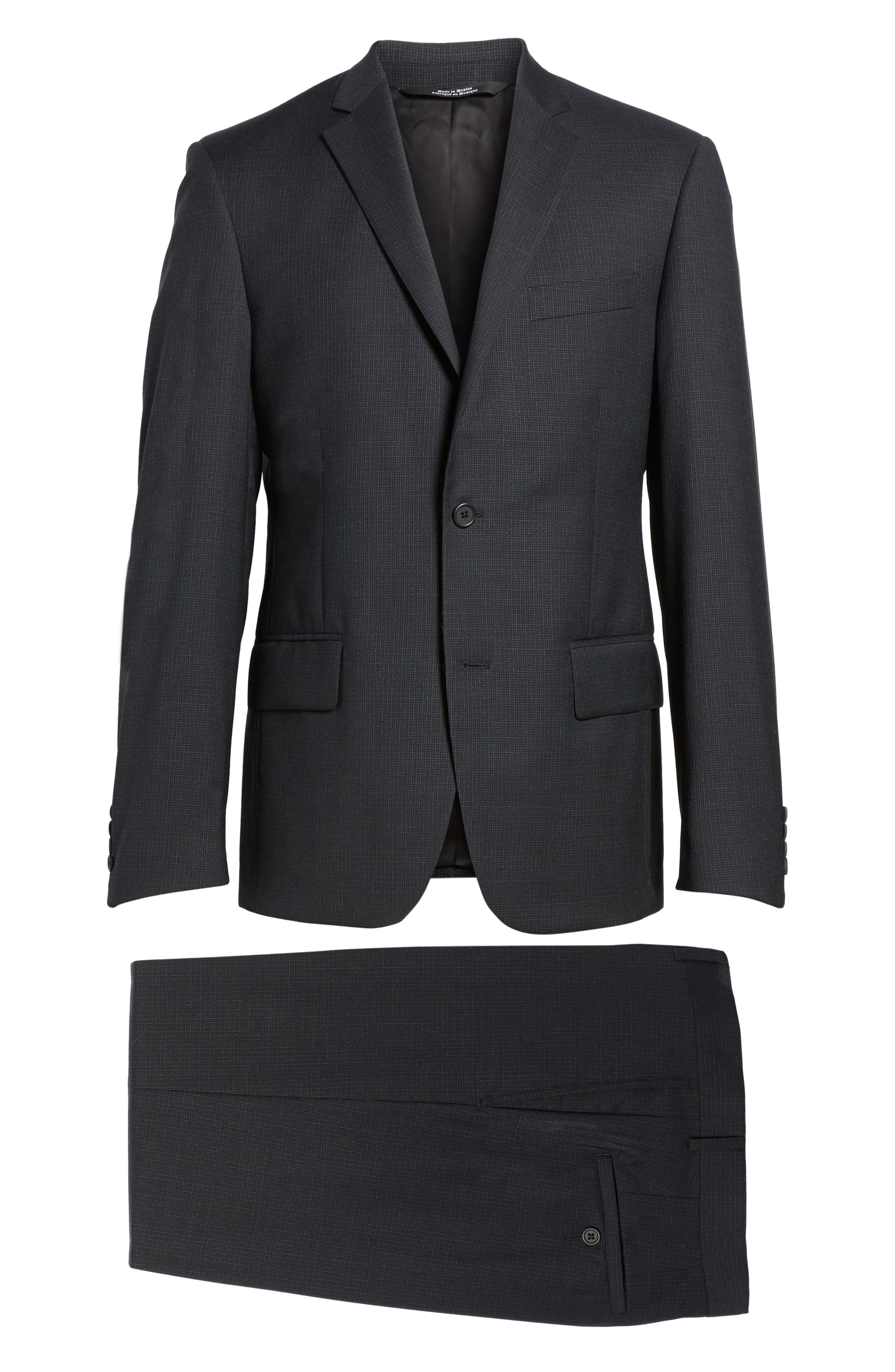 Classic Fit Check Wool Suit,                             Alternate thumbnail 8, color,                             Charcoal