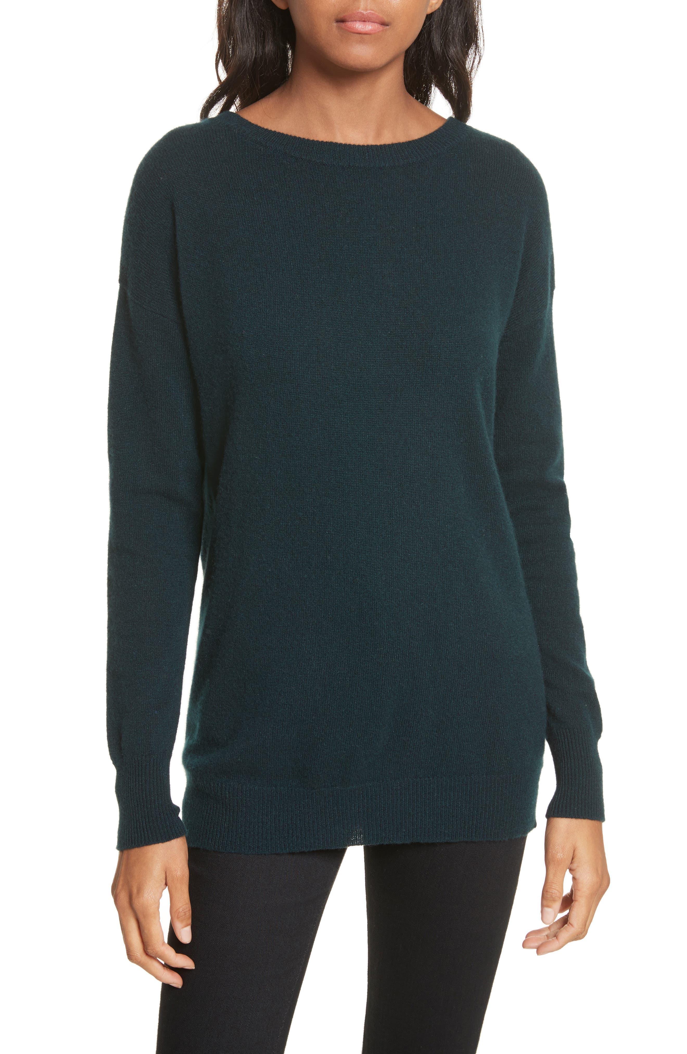 Velvet Tie Cashmere Sweater,                         Main,                         color, Juniper