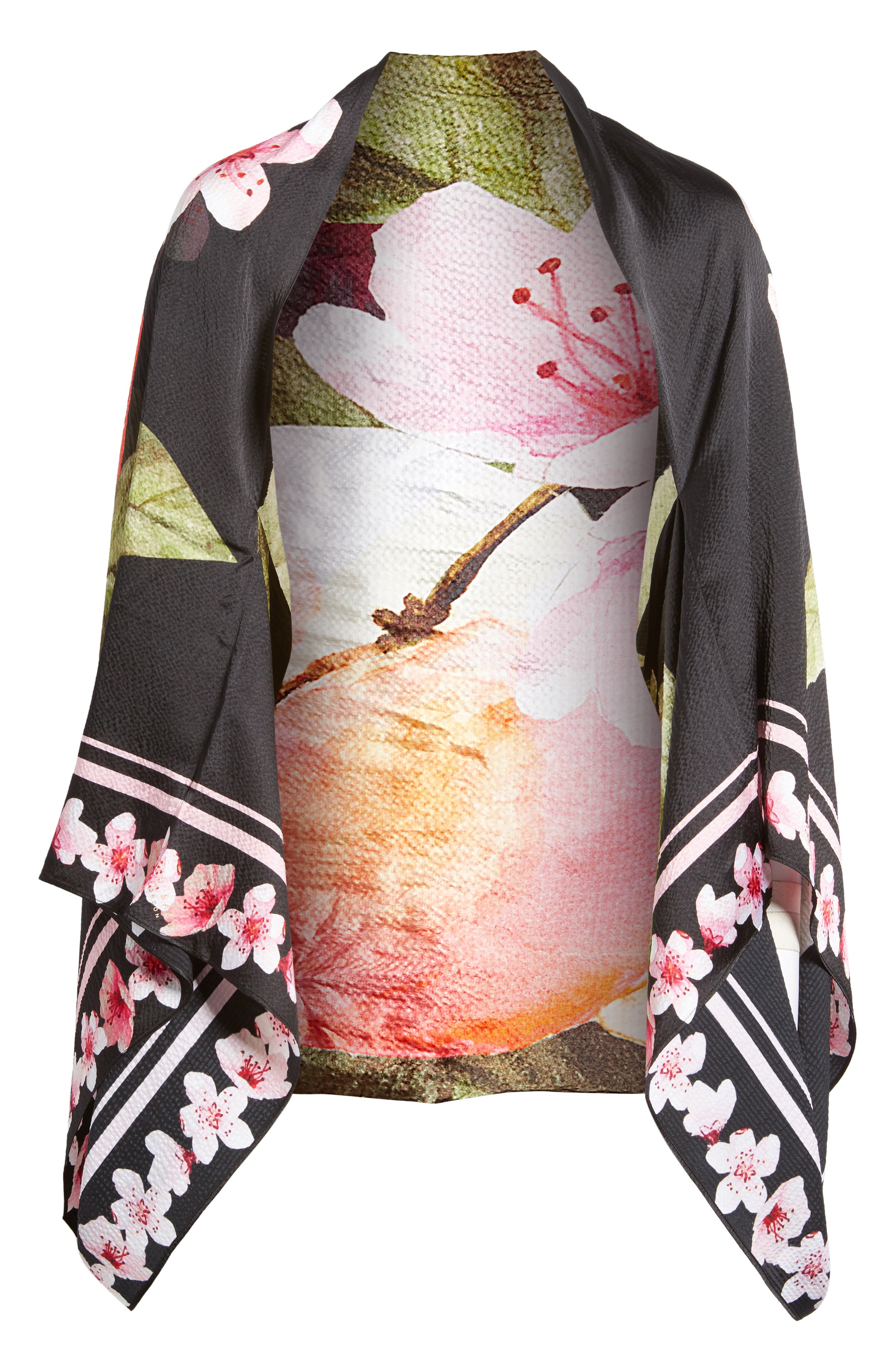 Peach Blossom Silk Cape Scarf,                             Alternate thumbnail 6, color,                             00-Black
