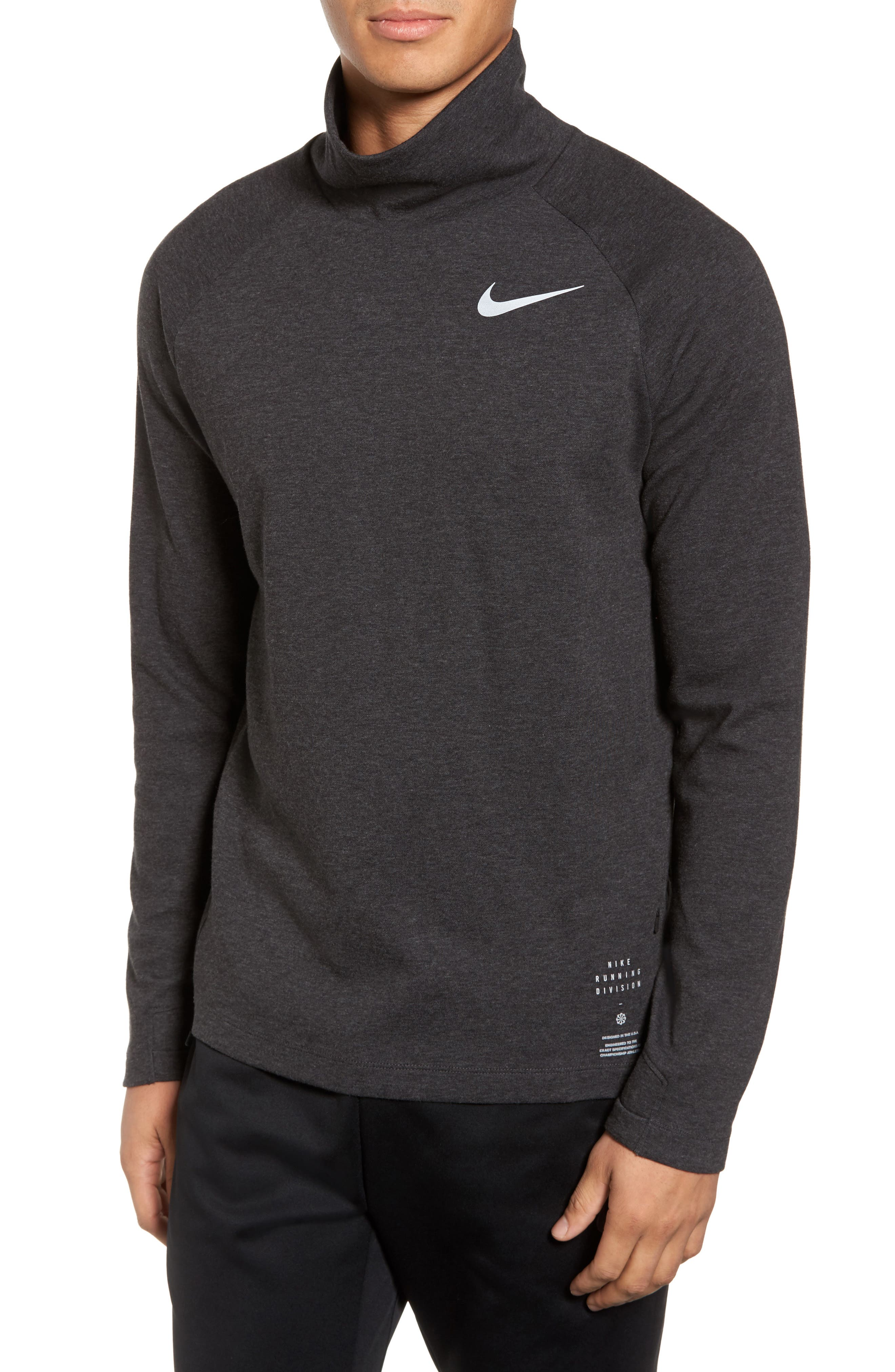 Mock Neck Long Sleeve Running T-Shirt,                         Main,                         color, Black Heather/ Grey/ Heather