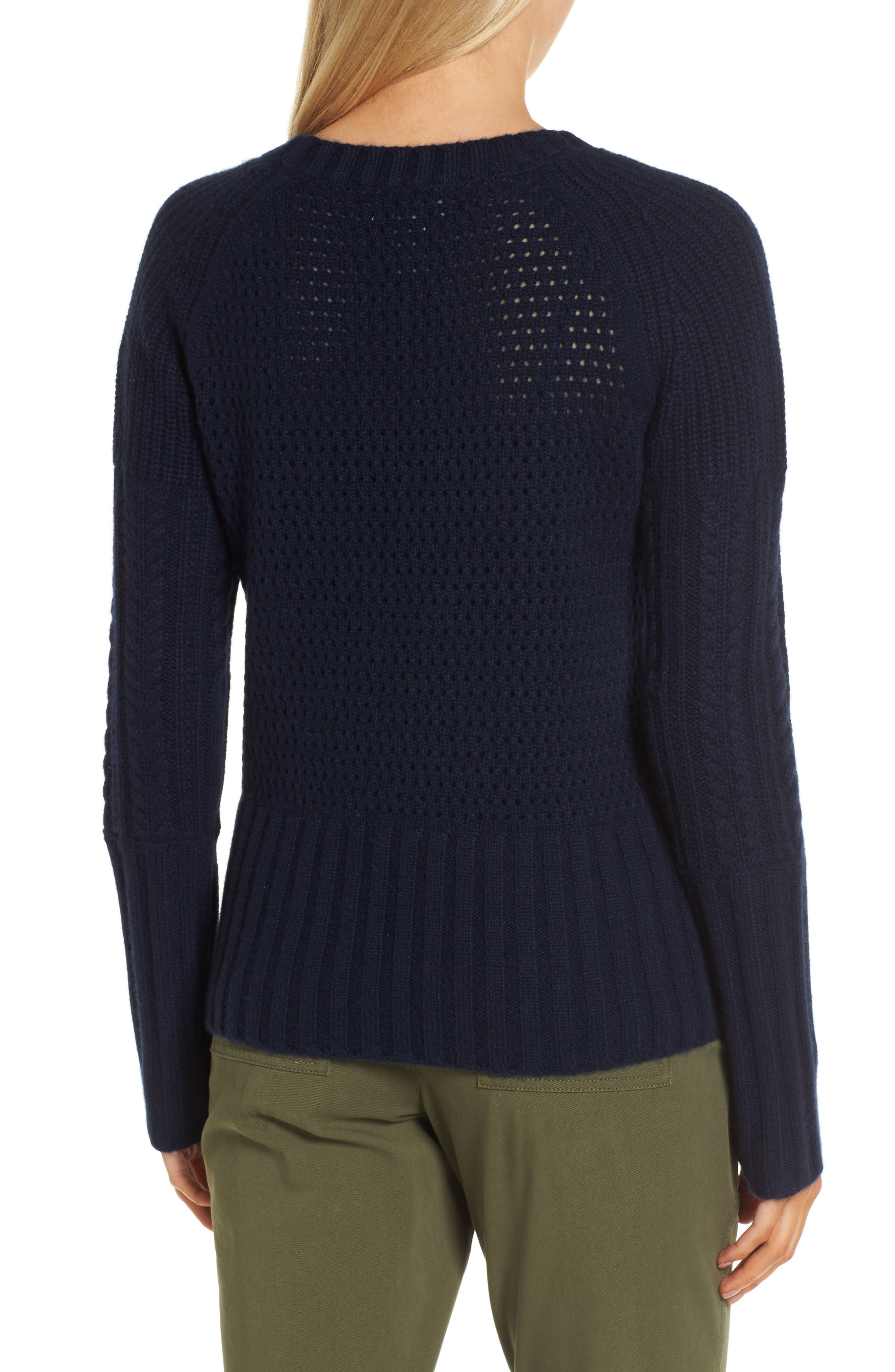 Mixed Stitch Cashmere Sweater,                             Alternate thumbnail 2, color,                             Navy Medieval