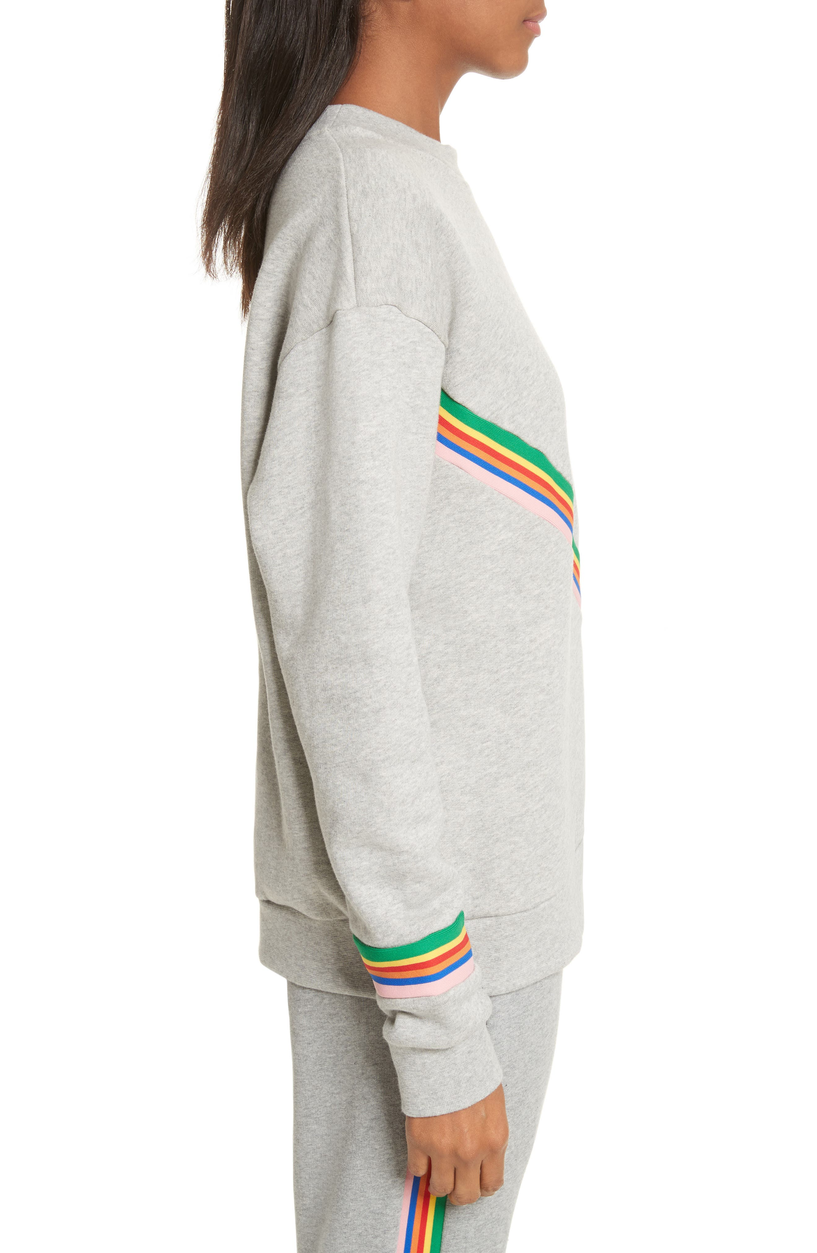 être cécile Rainbow Cotton Boyfriend Sweatshirt,                             Alternate thumbnail 5, color,                             Grey Marl