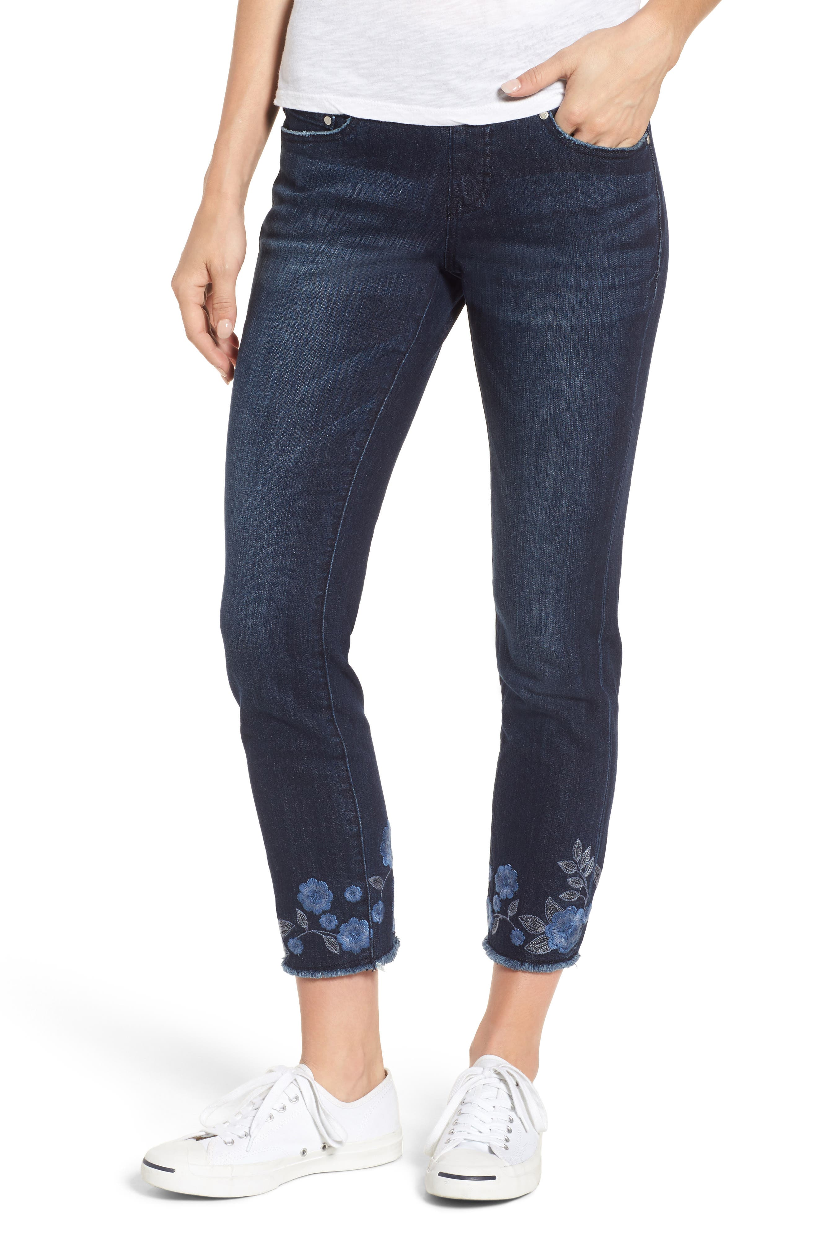 Amelia Embroidered Slim Ankle Jeans,                             Main thumbnail 1, color,                             Meteor Wash