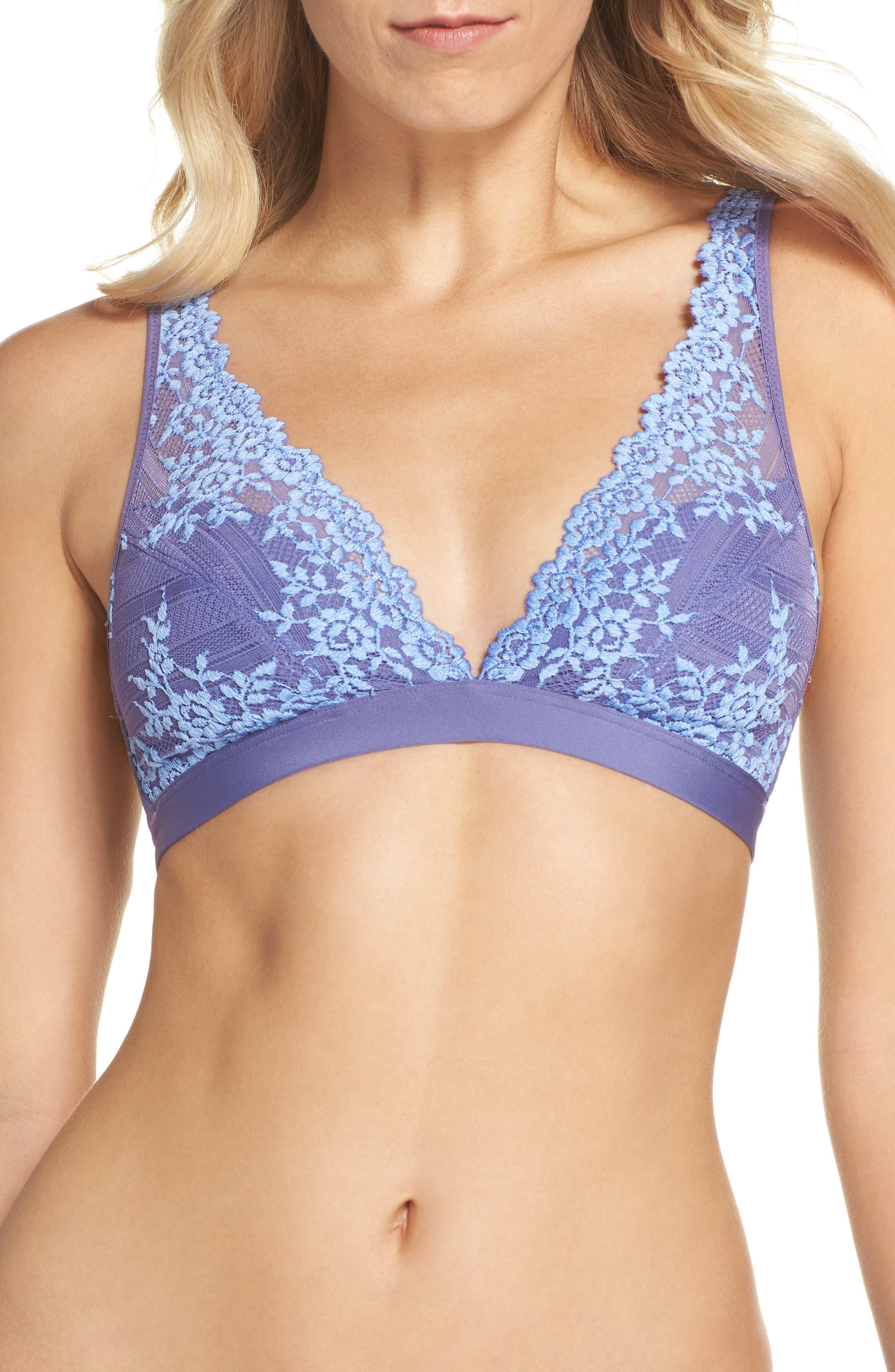 'Embrace Lace' Deep-V Bralette,                             Main thumbnail 1, color,                             Twilight Purple/ Hydrangea