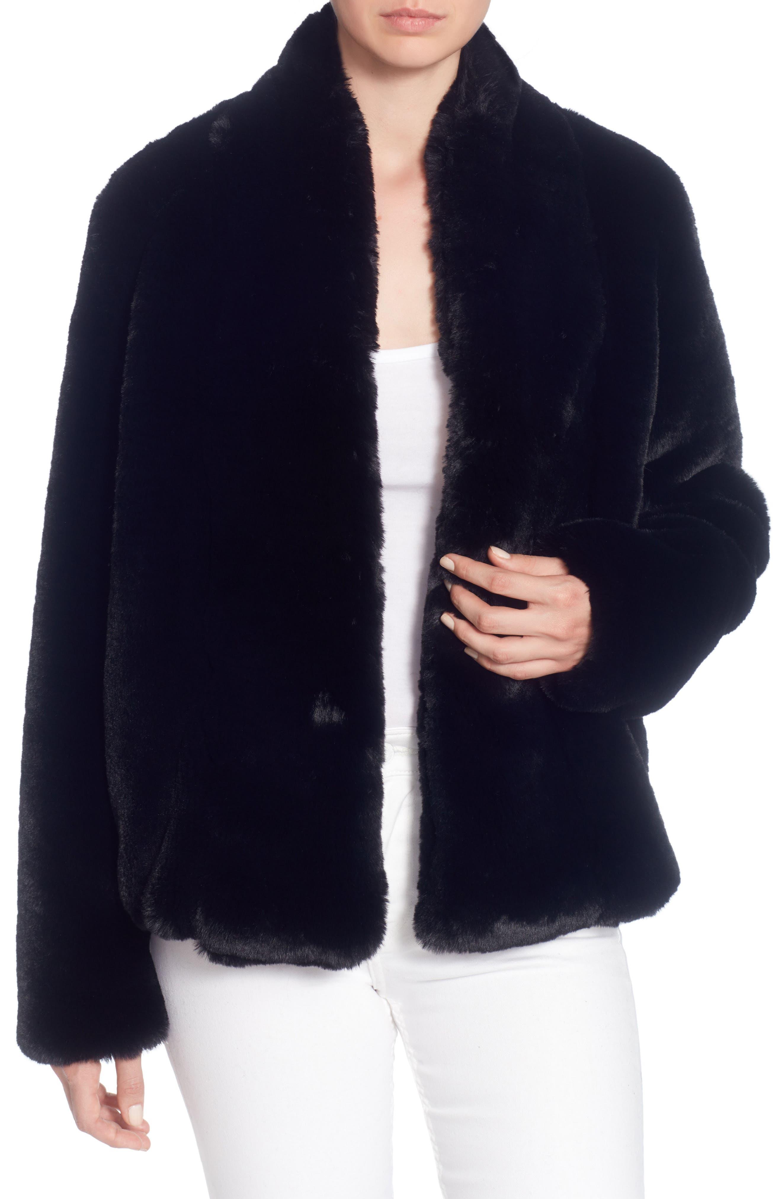 Faux Fur Jacket,                             Alternate thumbnail 3, color,                             Black