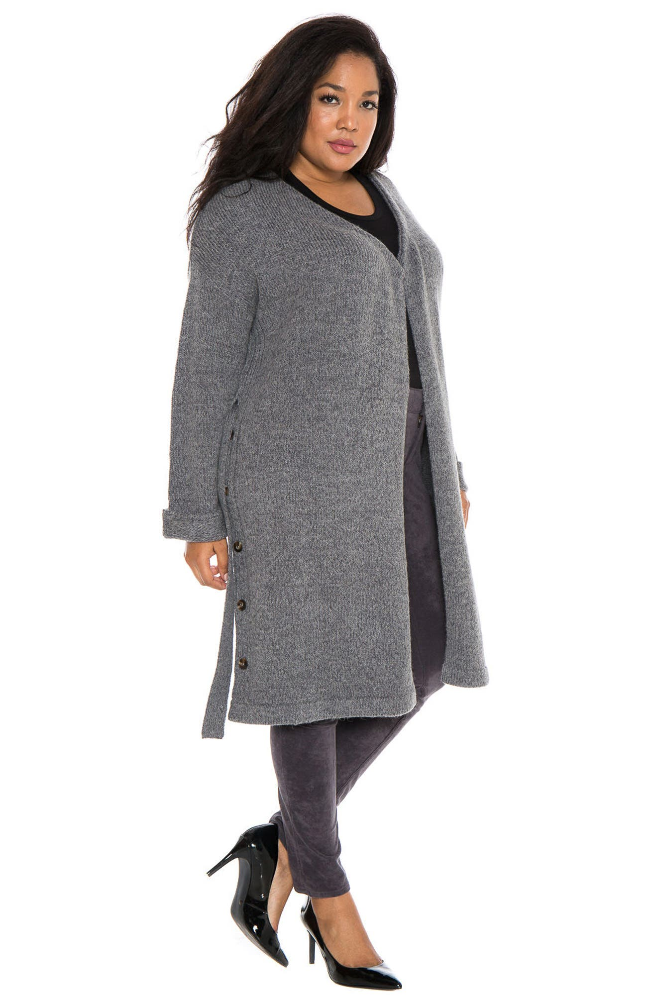 Side Button Long Cardigan,                             Alternate thumbnail 3, color,                             Dark Charcoal