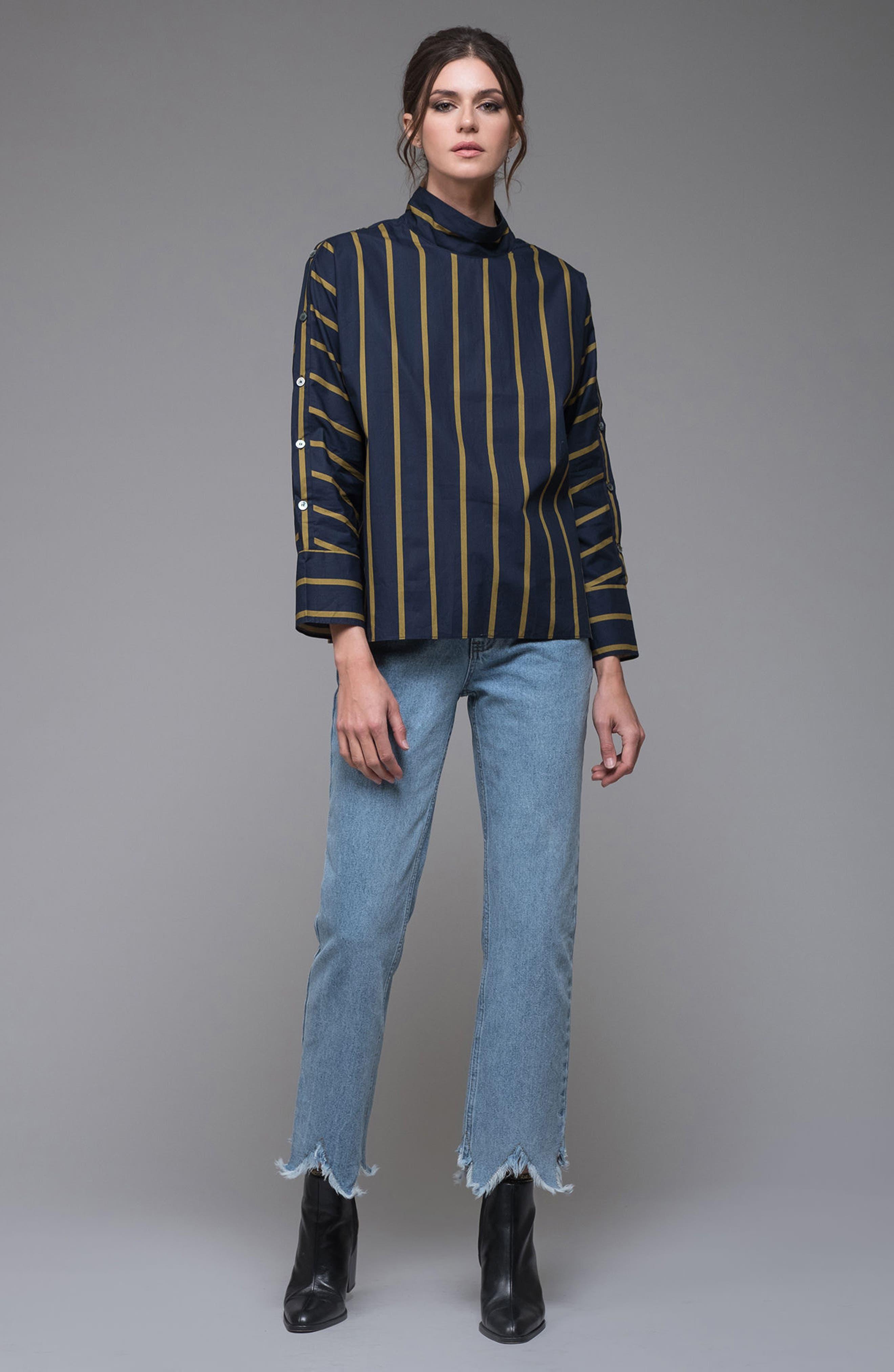 Stripe Button Sleeve Shirt,                             Alternate thumbnail 7, color,                             Navy