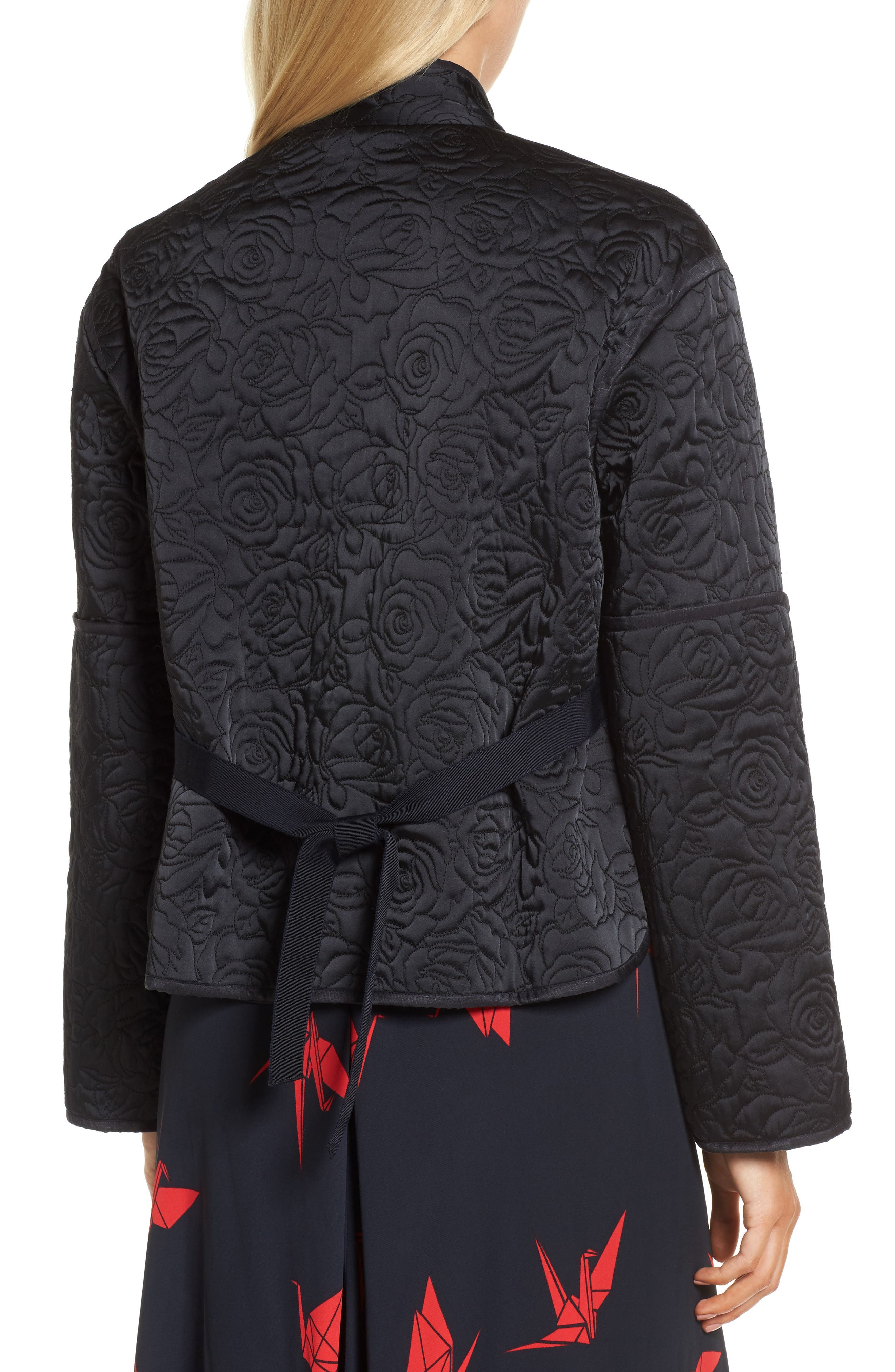 Floral Quilted Satin Jacket,                             Alternate thumbnail 2, color,                             Navy Night