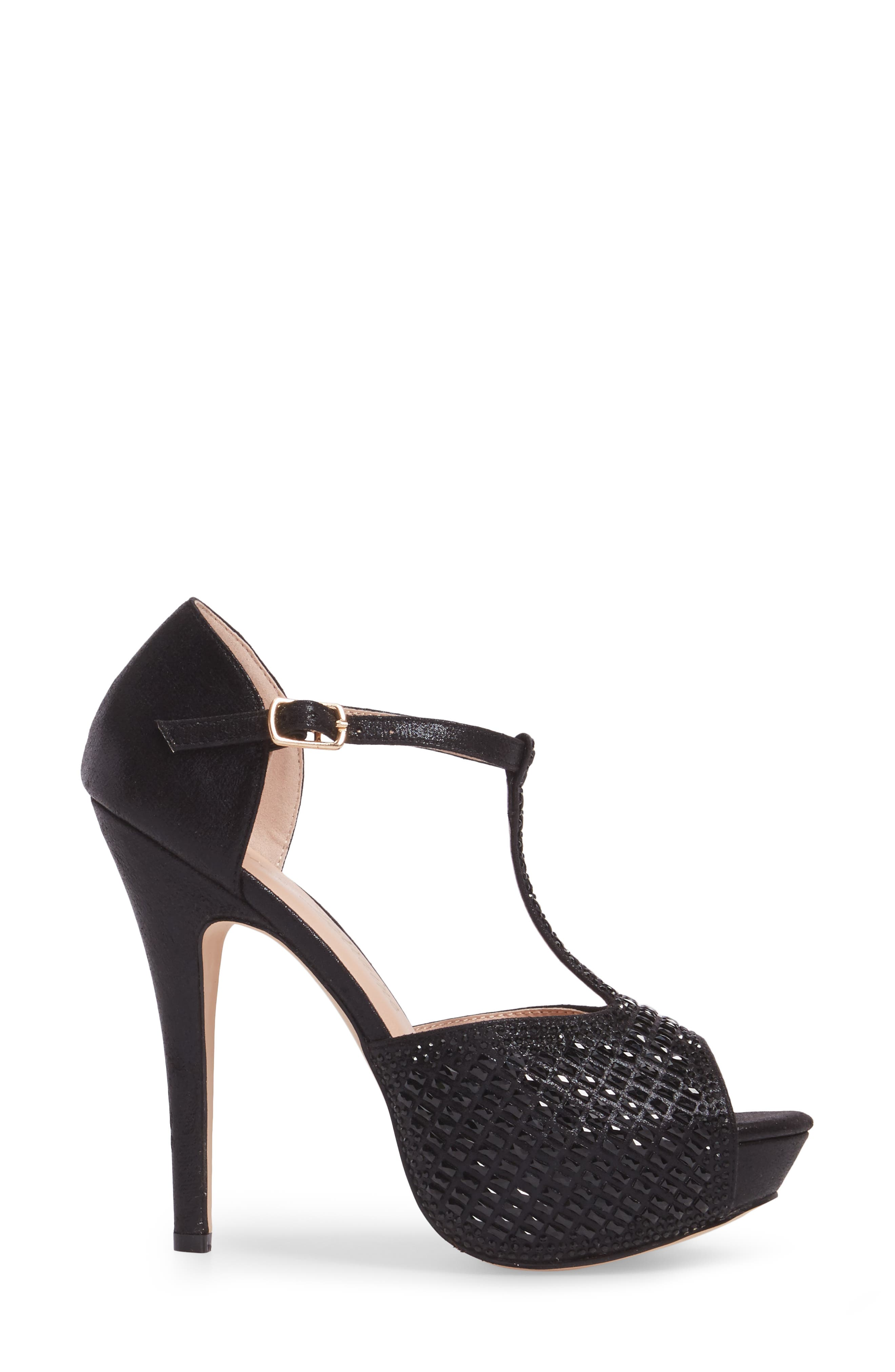 Vivian 4 Crystal Embellished Sandal,                             Alternate thumbnail 3, color,                             Black Shimmer