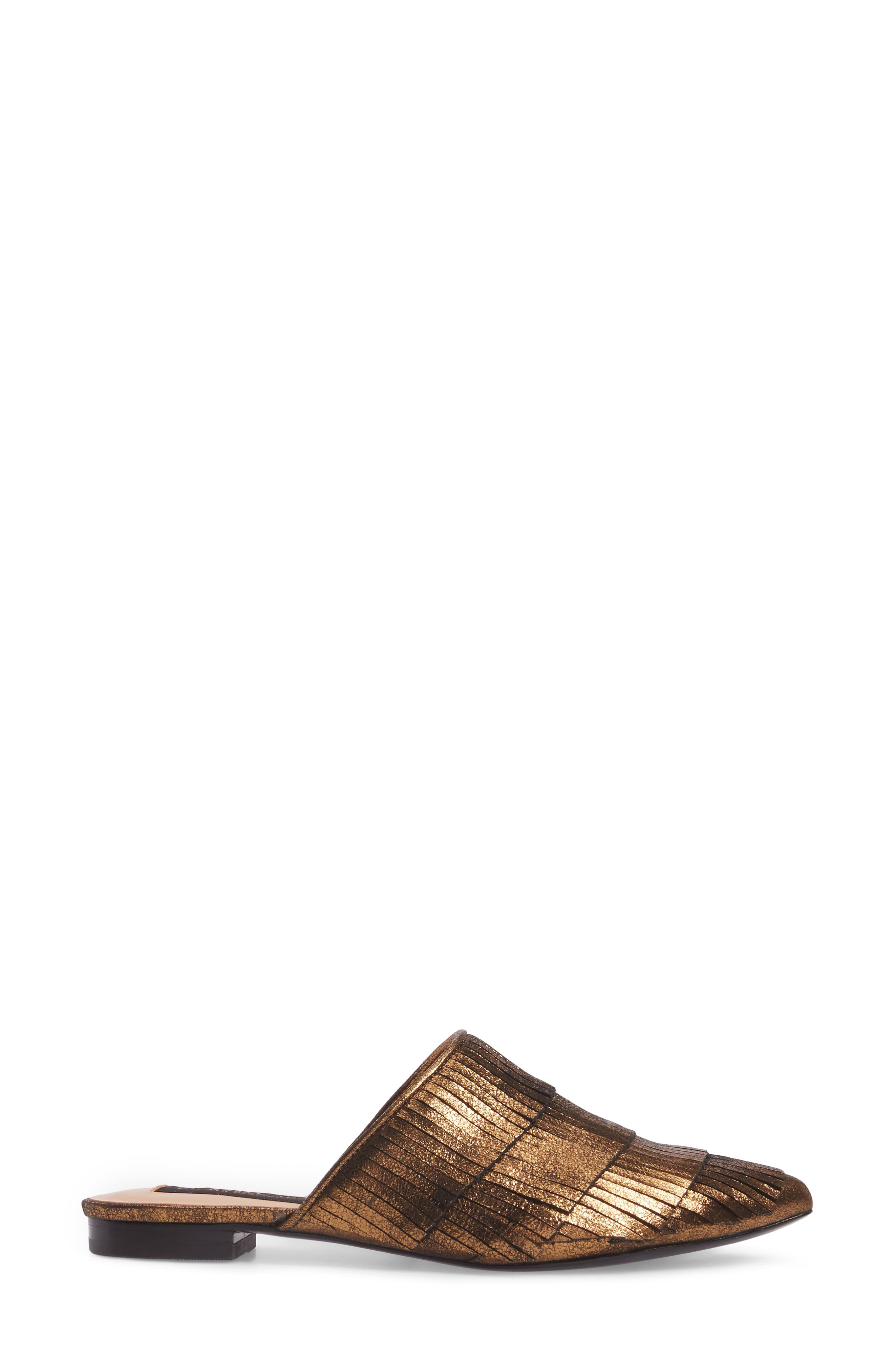 Donna Karan Paisley Fringe Mule,                             Alternate thumbnail 3, color,                             Brass Leather