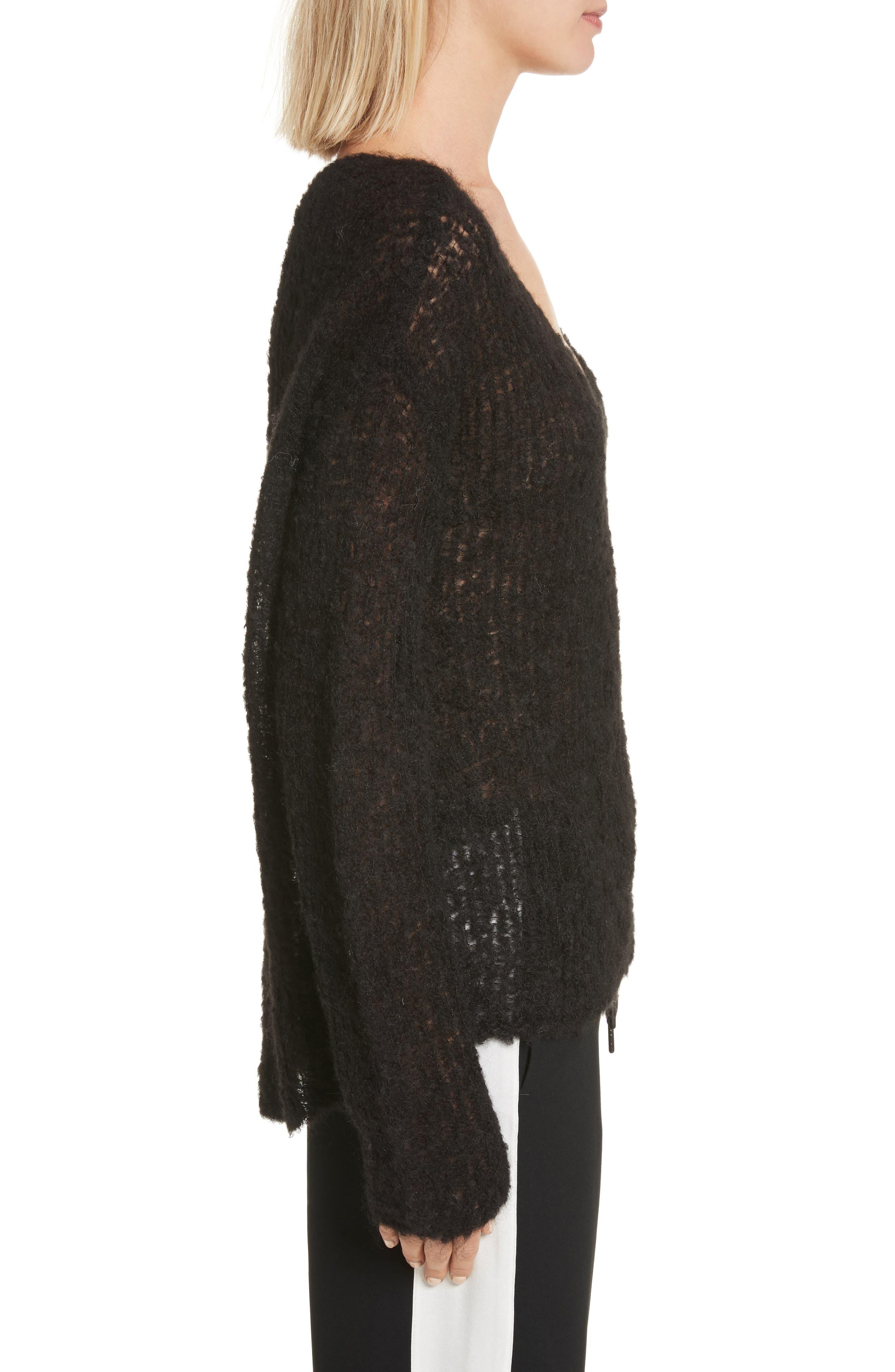 Freda Alpaca Blend Sweater,                             Alternate thumbnail 3, color,                             Black