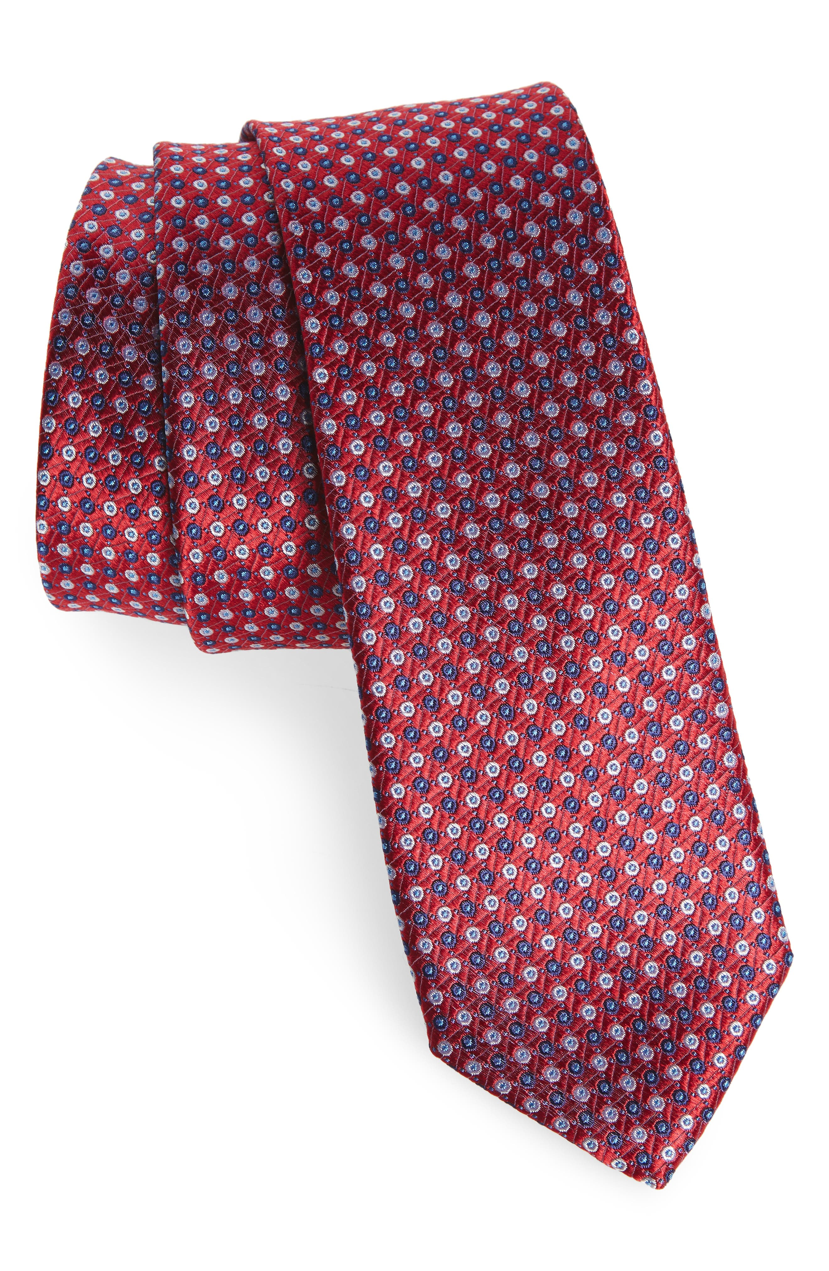 Neat Medallion Silk Tie,                         Main,                         color, Red/Navy