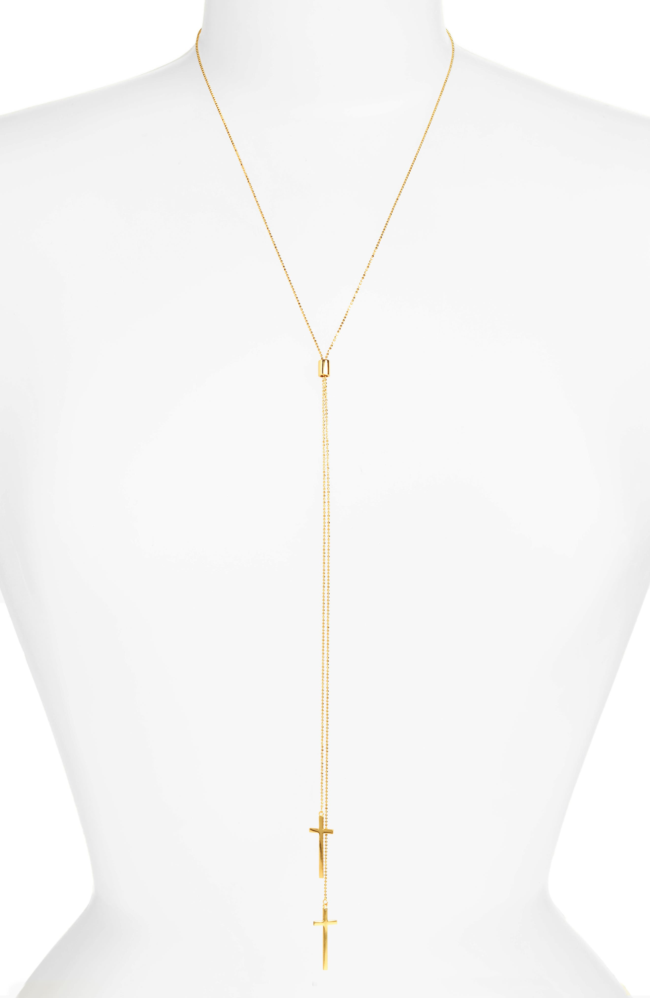 Modern Cross Lariat Necklace,                         Main,                         color, Gold