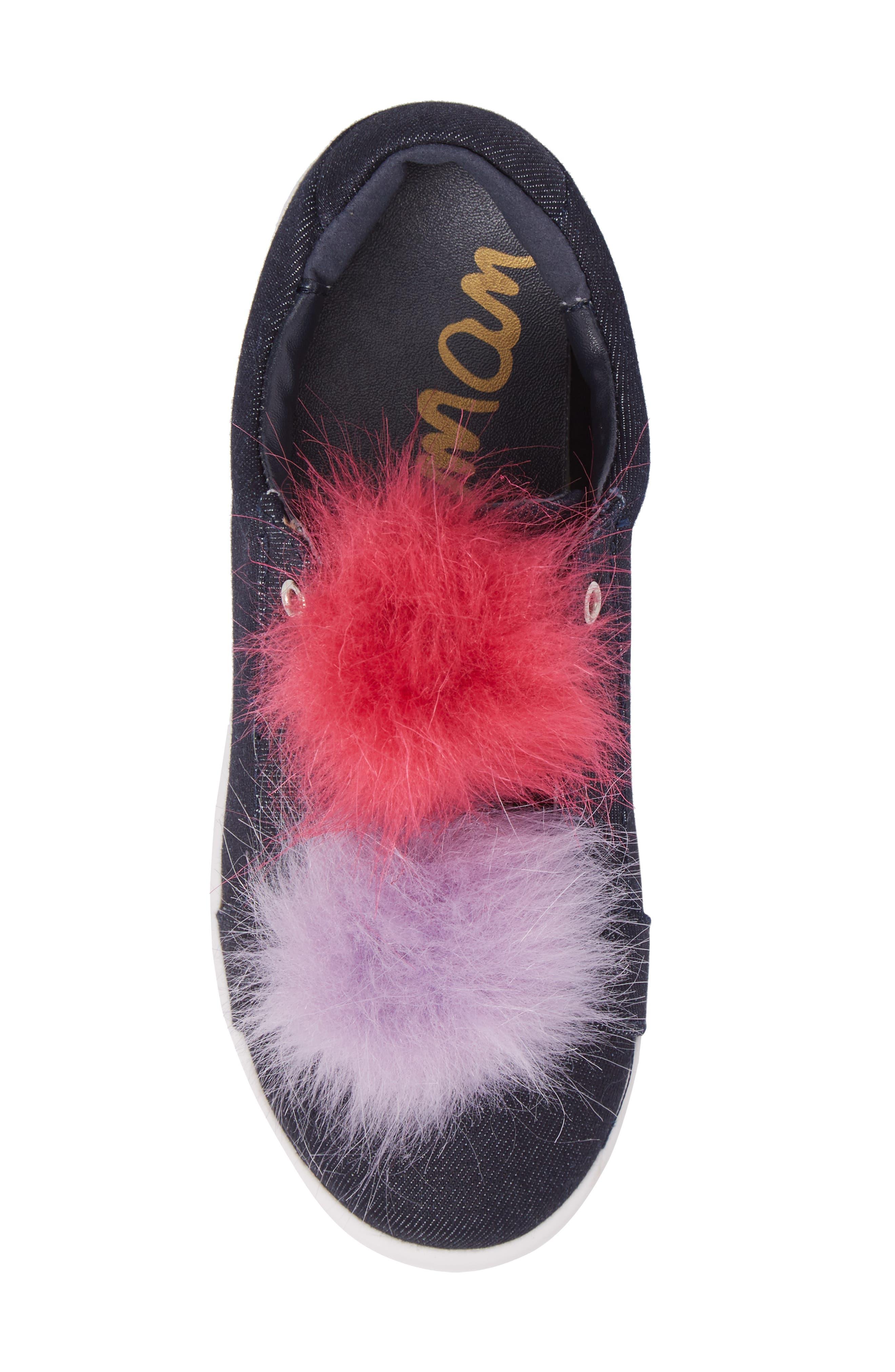 Cynthia Leya Faux Fur Pompom Slip-On Sneaker,                             Alternate thumbnail 5, color,                             Denim