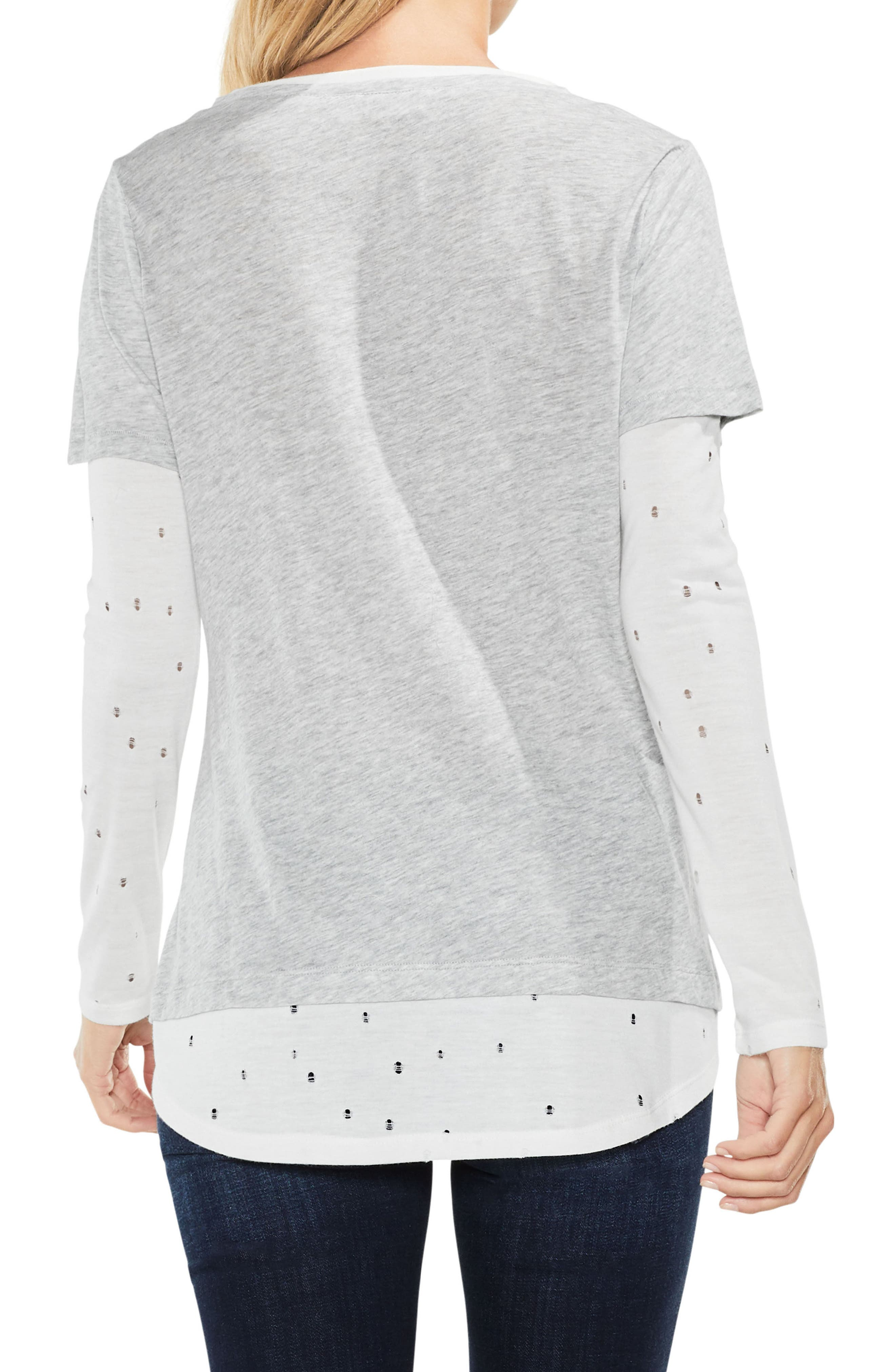 Alternate Image 2  - Two by Vince Camuto Distressed Mix Media Top