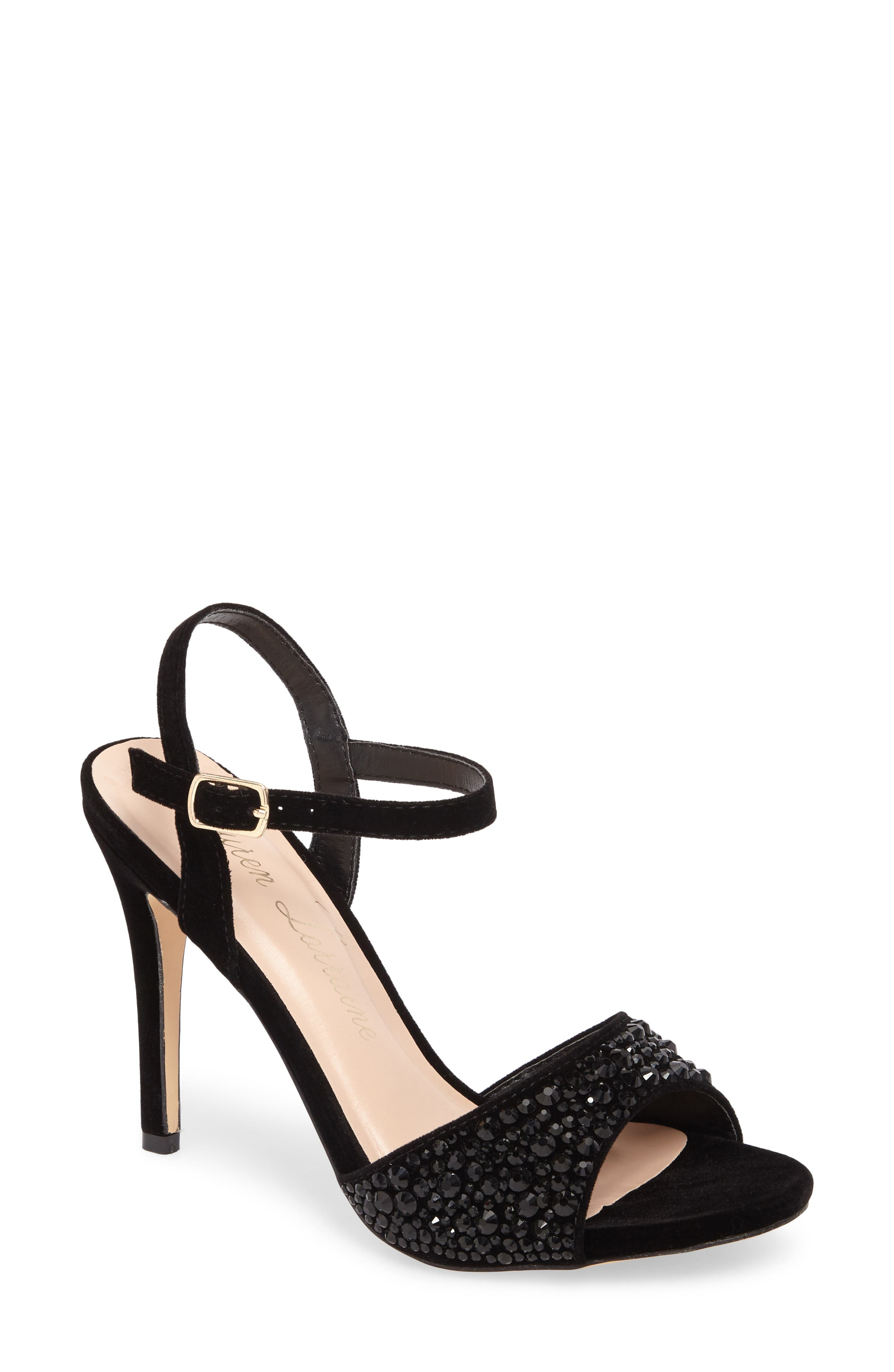 Marti Embellished Sandal,                         Main,                         color, Black Fabric