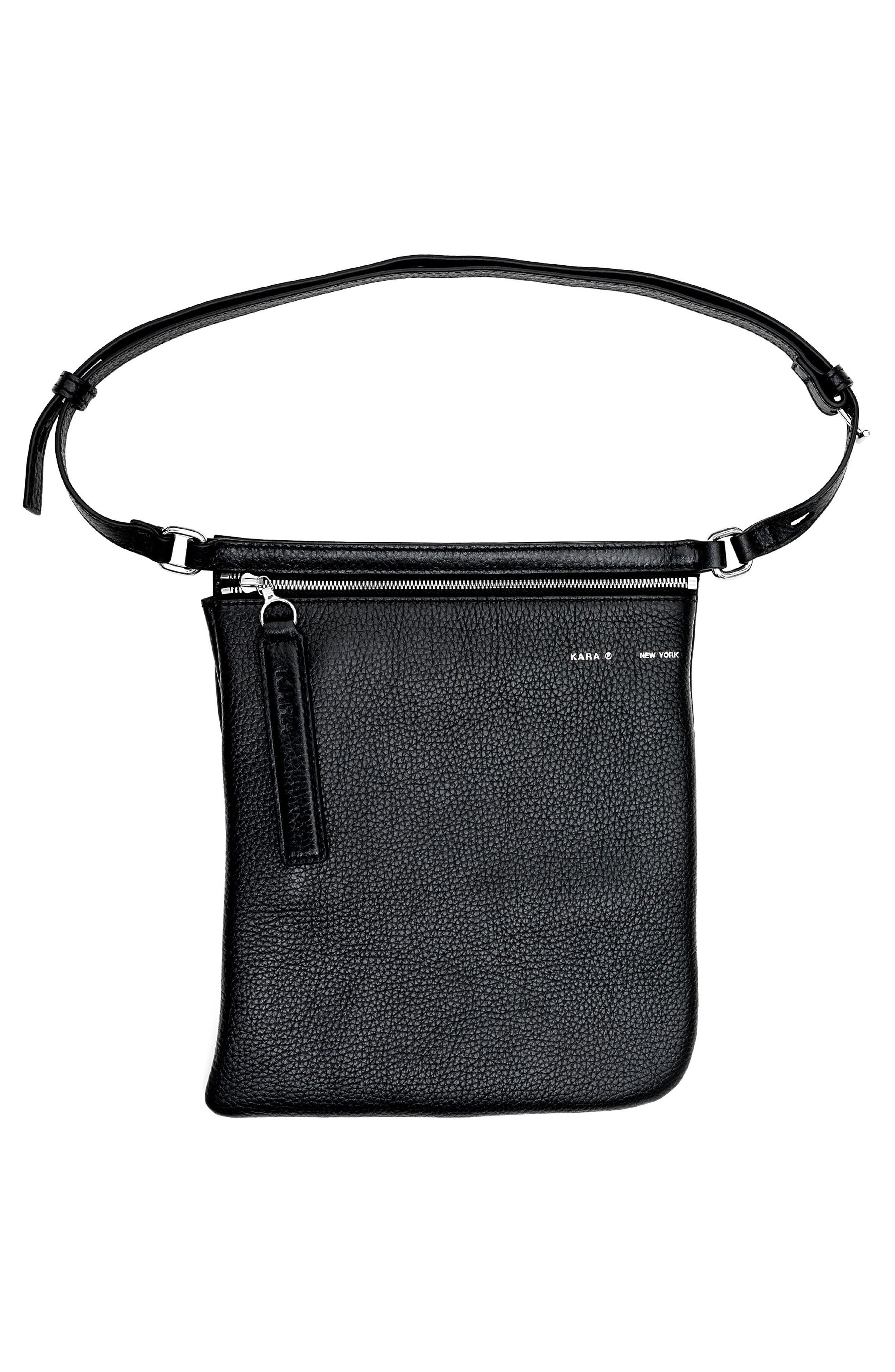 Pebbled Leather Belt Bag,                             Alternate thumbnail 3, color,                             Black