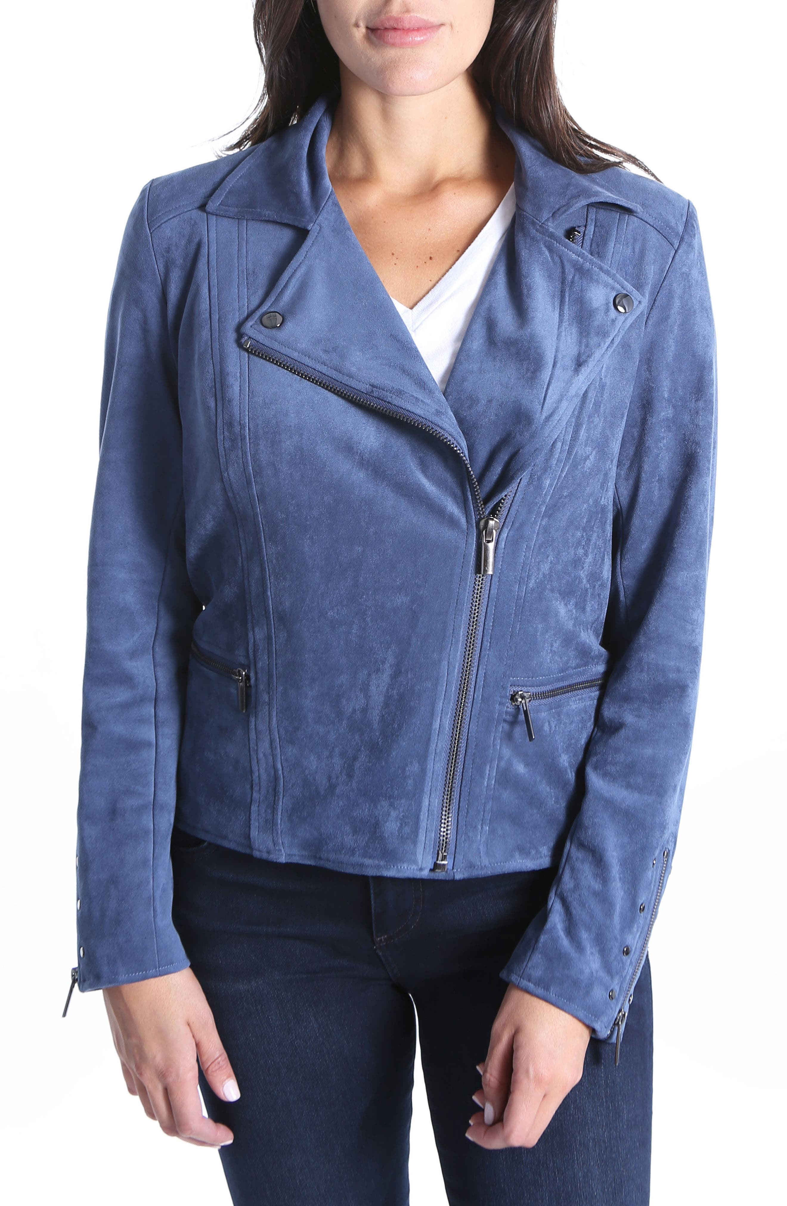Faux Suede Eveline Jacket,                             Main thumbnail 1, color,                             Slate Blue