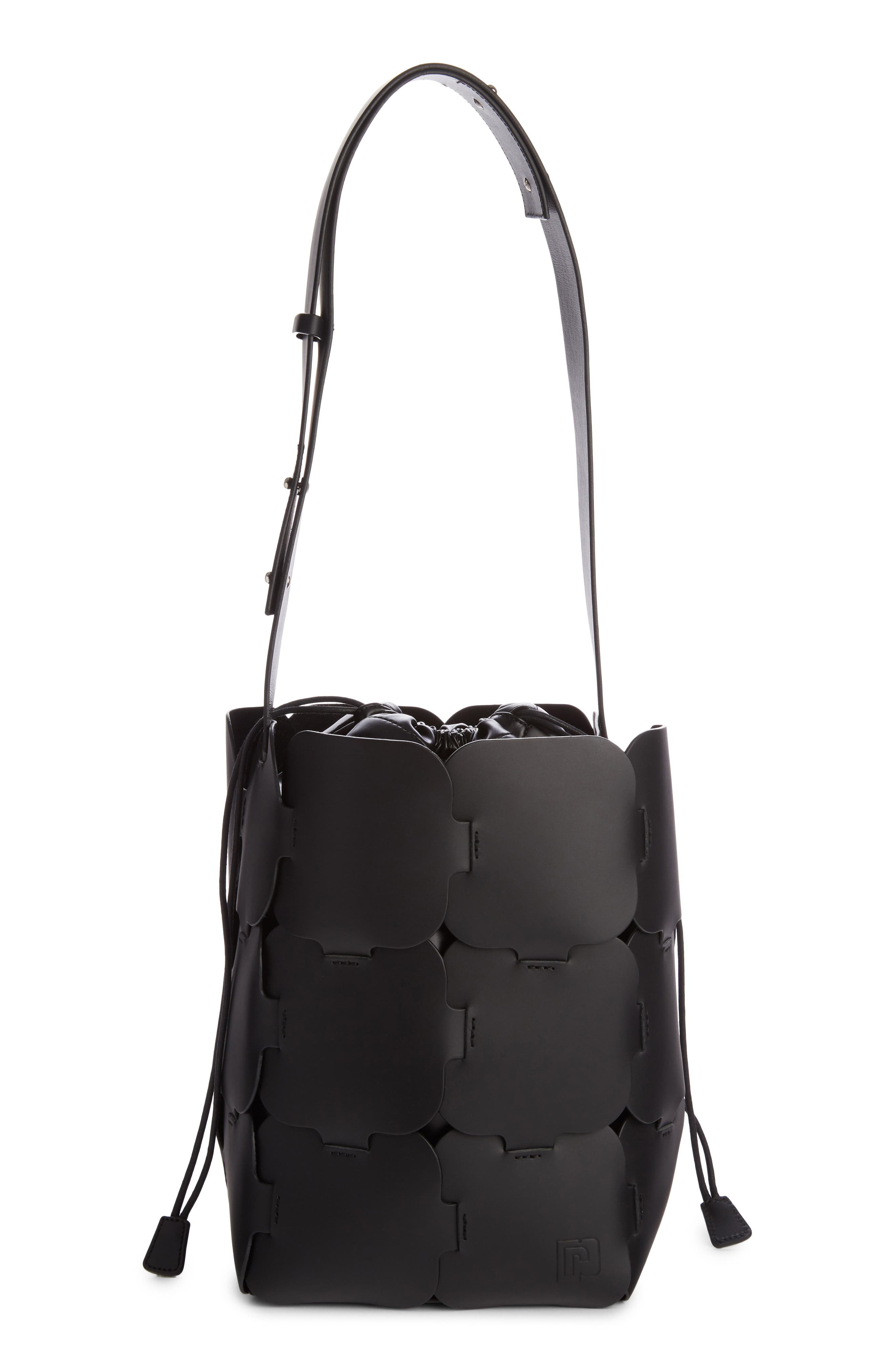 Medium Element Leather Bucket Bag,                             Main thumbnail 1, color,                             Black