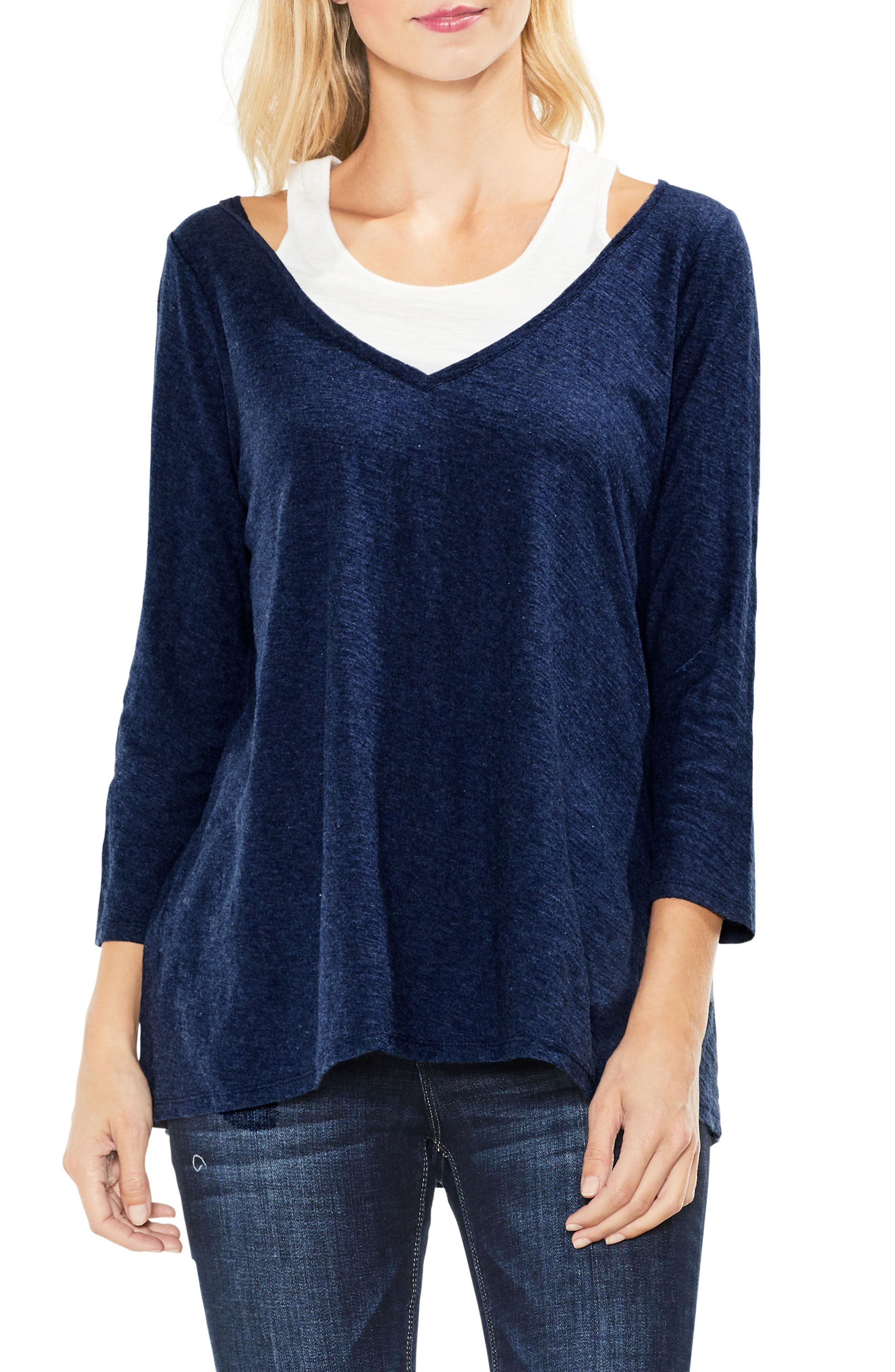 Two by Vince Camuto Layered Top,                             Main thumbnail 1, color,                             Indigo Night