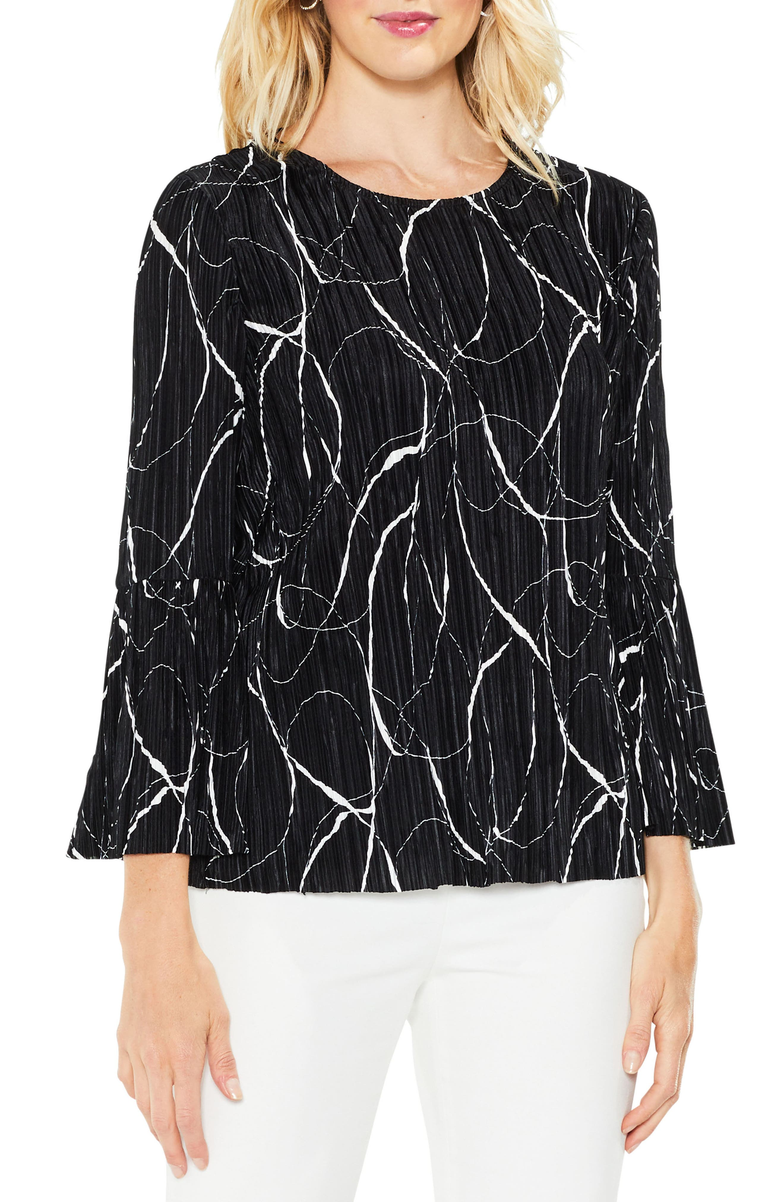 Ink Swirl Bell Sleeve Top,                         Main,                         color, Rich Black