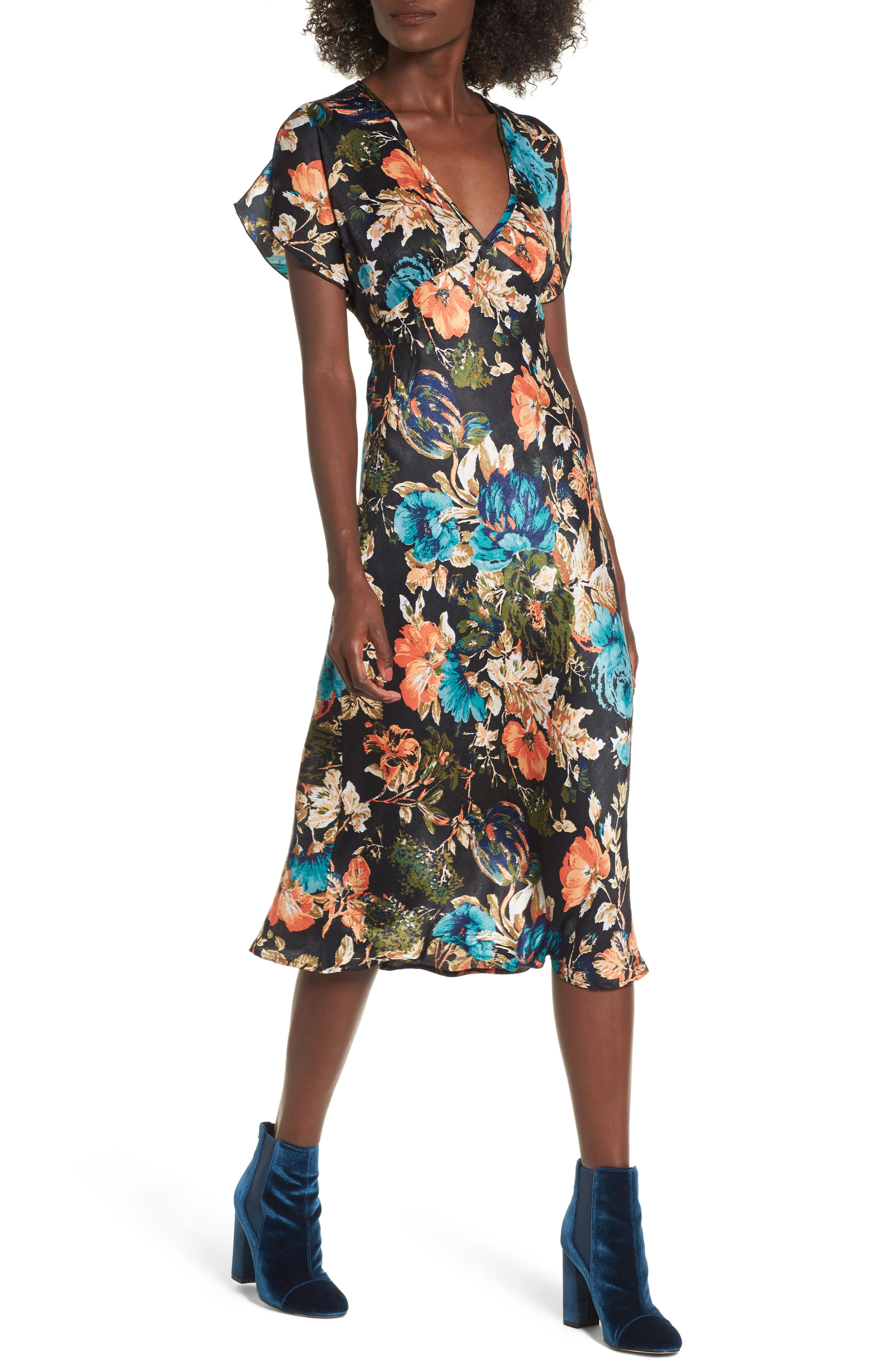 Peony Floral Midi Dress,                         Main,                         color, Black/ Orange