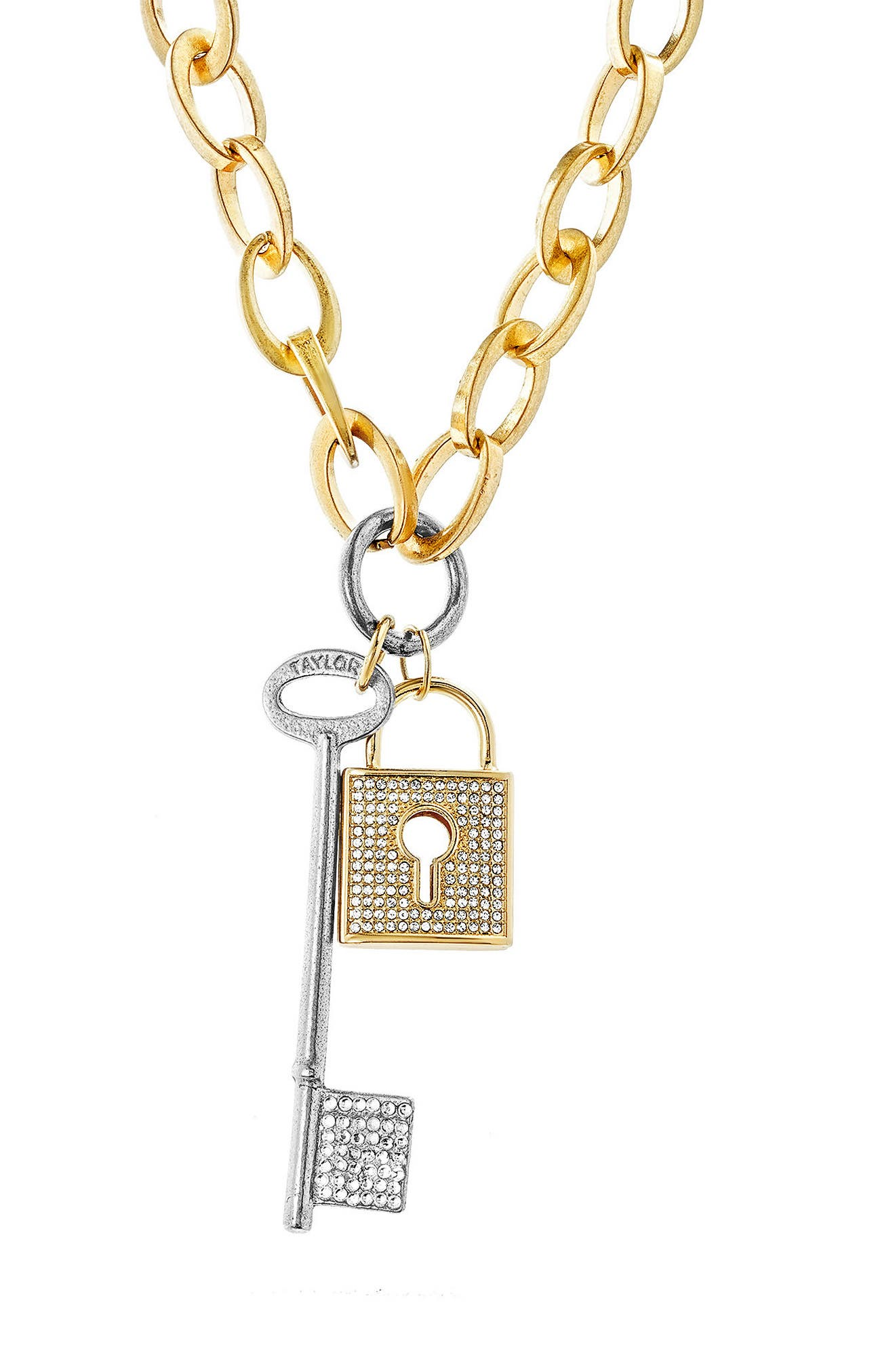 Lock & Key Necklace,                         Main,                         color, Gold