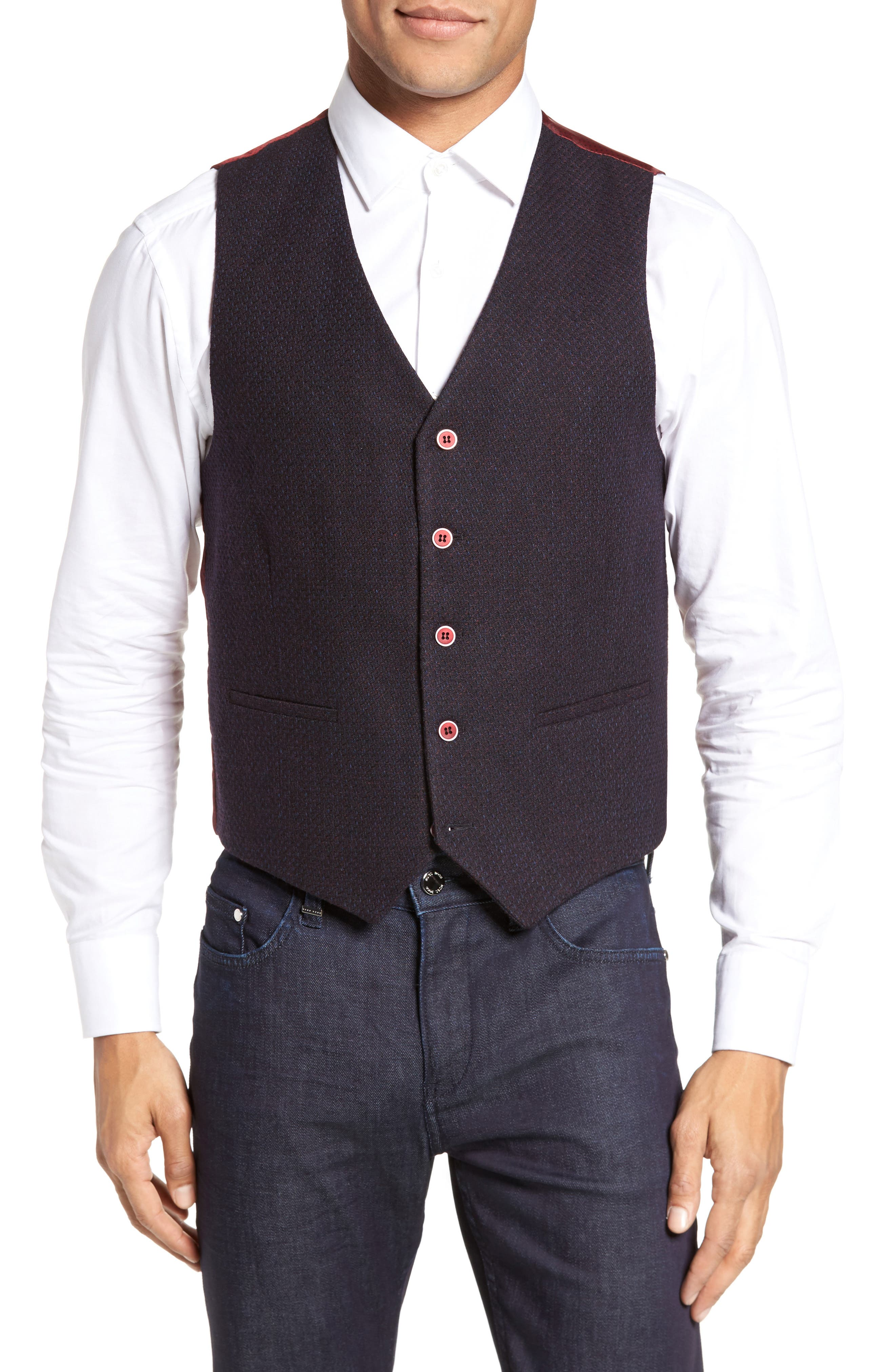 Textured Wool Blend Vest,                             Main thumbnail 1, color,                             Burgundy