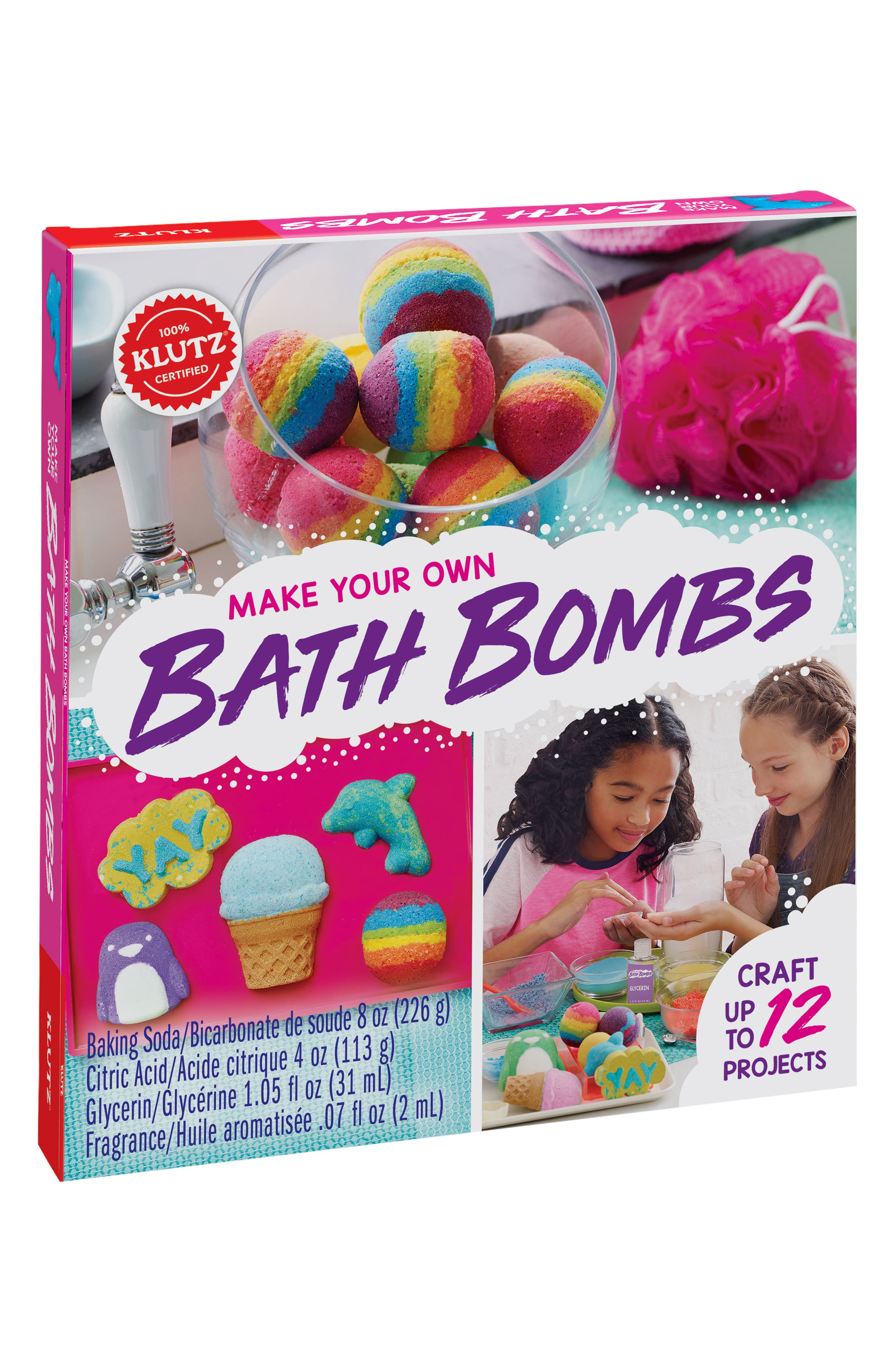 Klutz Make Your Own Bath Bomb Kit,                         Main,                         color, Pink