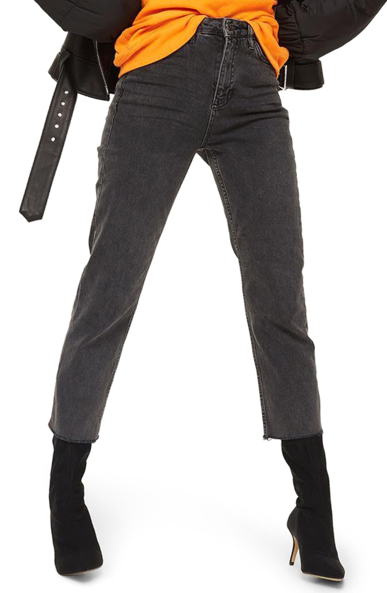 Raw Hem Straight Leg Jeans,                         Main,                         color, Charcoal