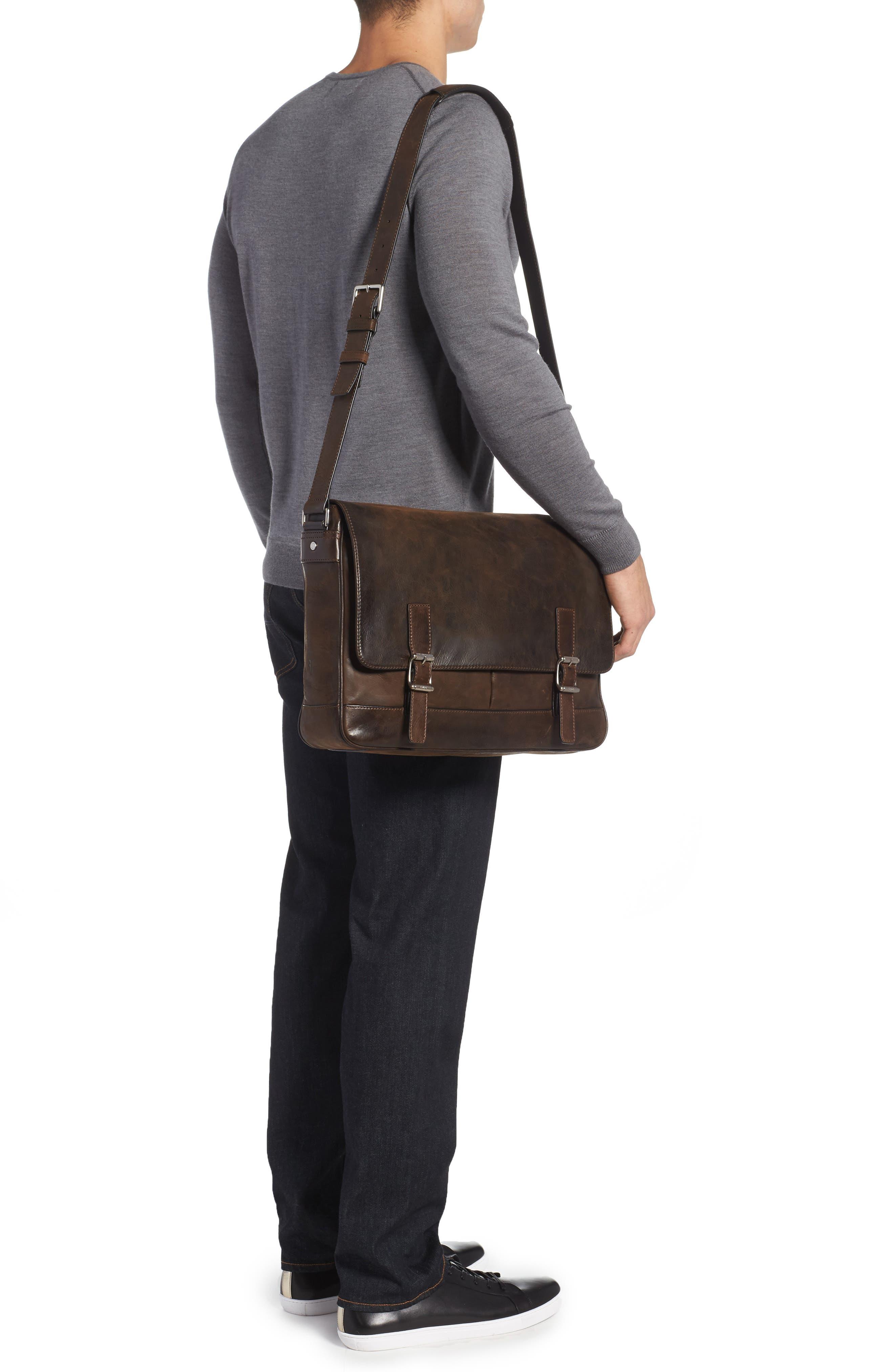 Oliver Leather Messenger Bag,                             Alternate thumbnail 2, color,                             Dark Brown