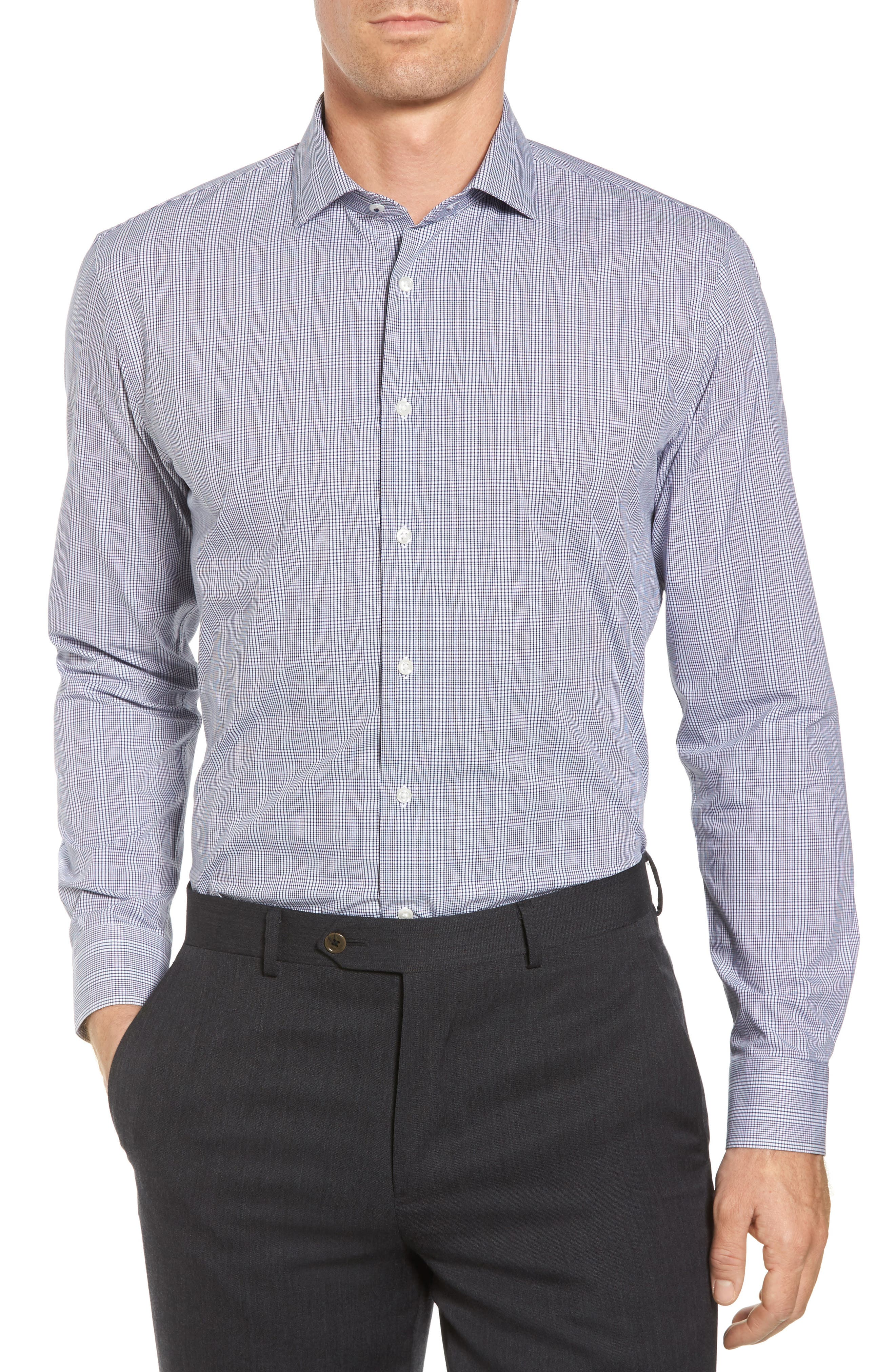Tech-Smart Trim Fit Stretch Plaid Dress Shirt,                         Main,                         color, Blue Twilight