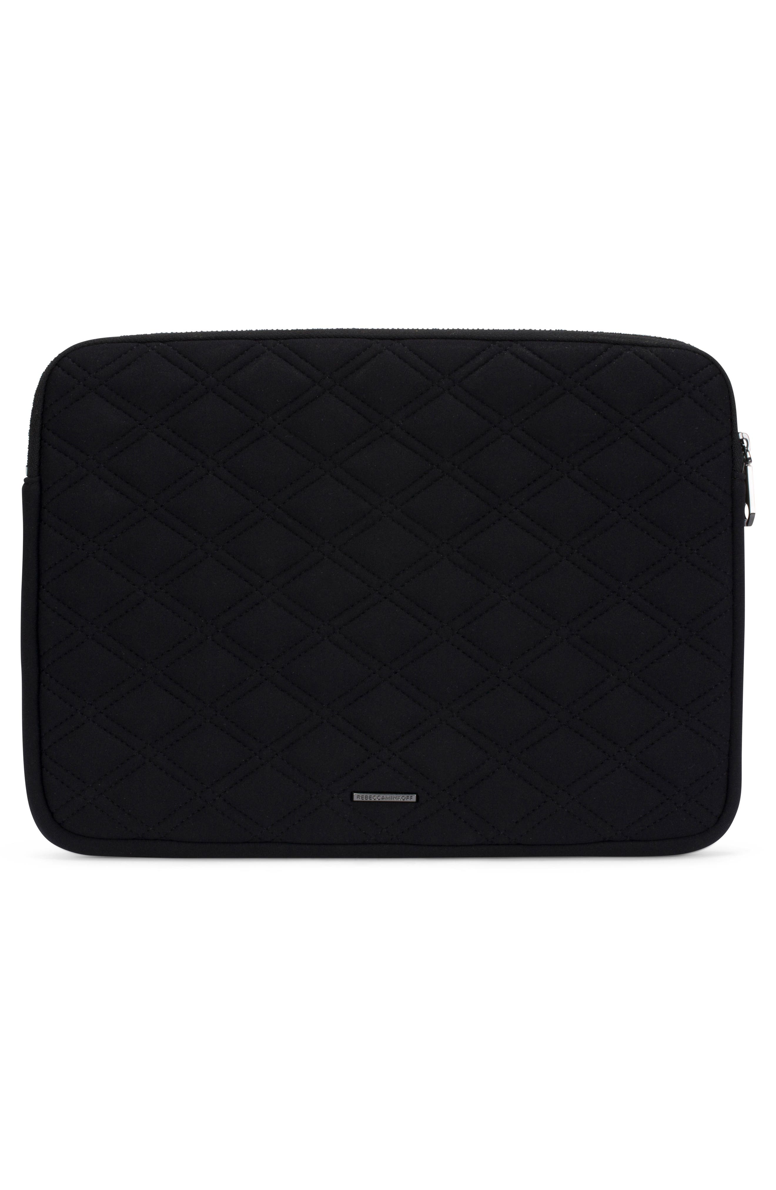 Quilted Stud Laptop Case,                             Alternate thumbnail 5, color,                             Black/ Black Pearl Studs