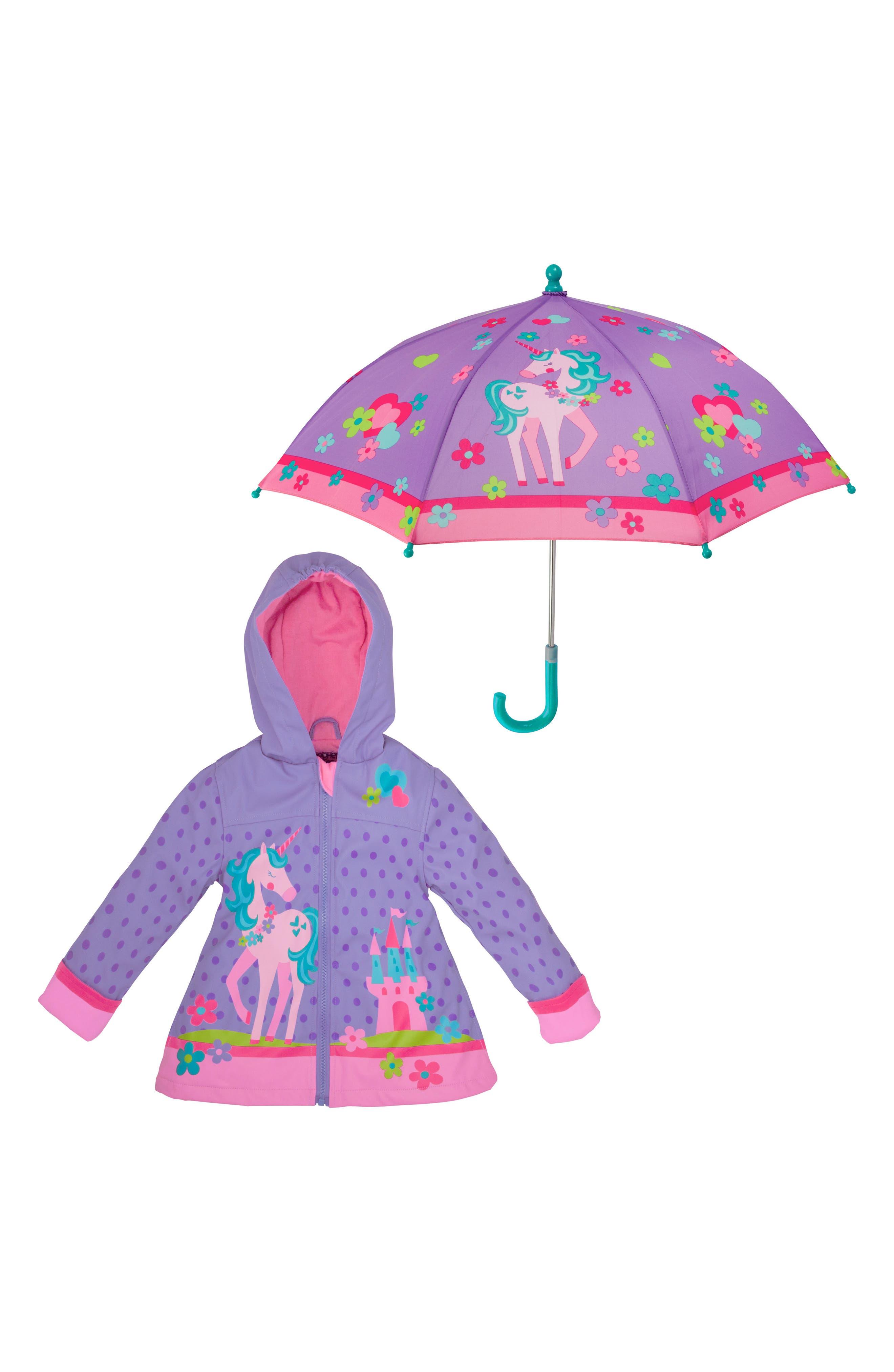 Alternate Image 1 Selected - Stephen Joseph Unicorn Raincoat & Umbrella Set (Toddler Girls, Little Girls)