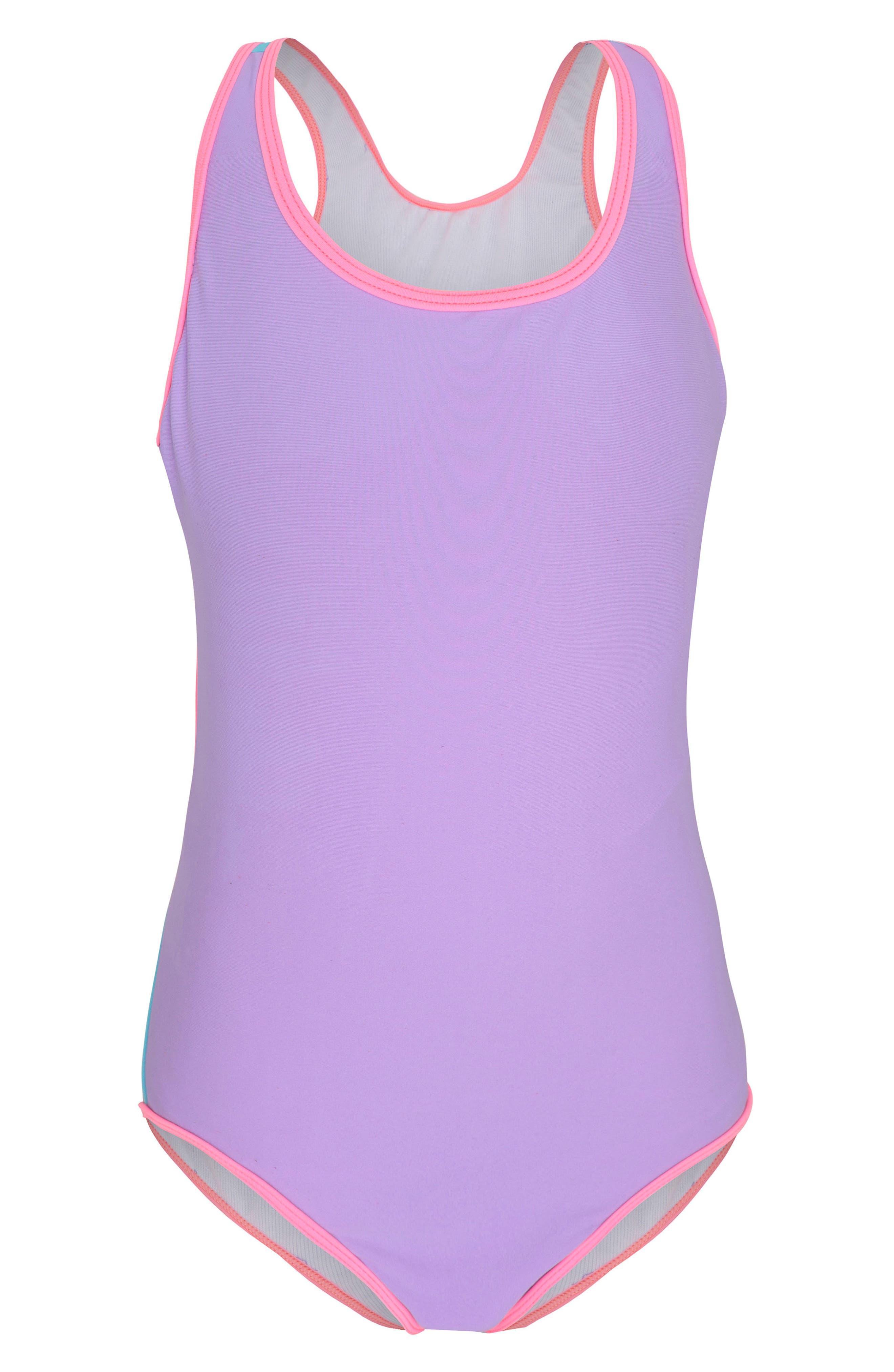 Colorblock One-Piece Swimsuit,                         Main,                         color, Sherbert Colour Blocked