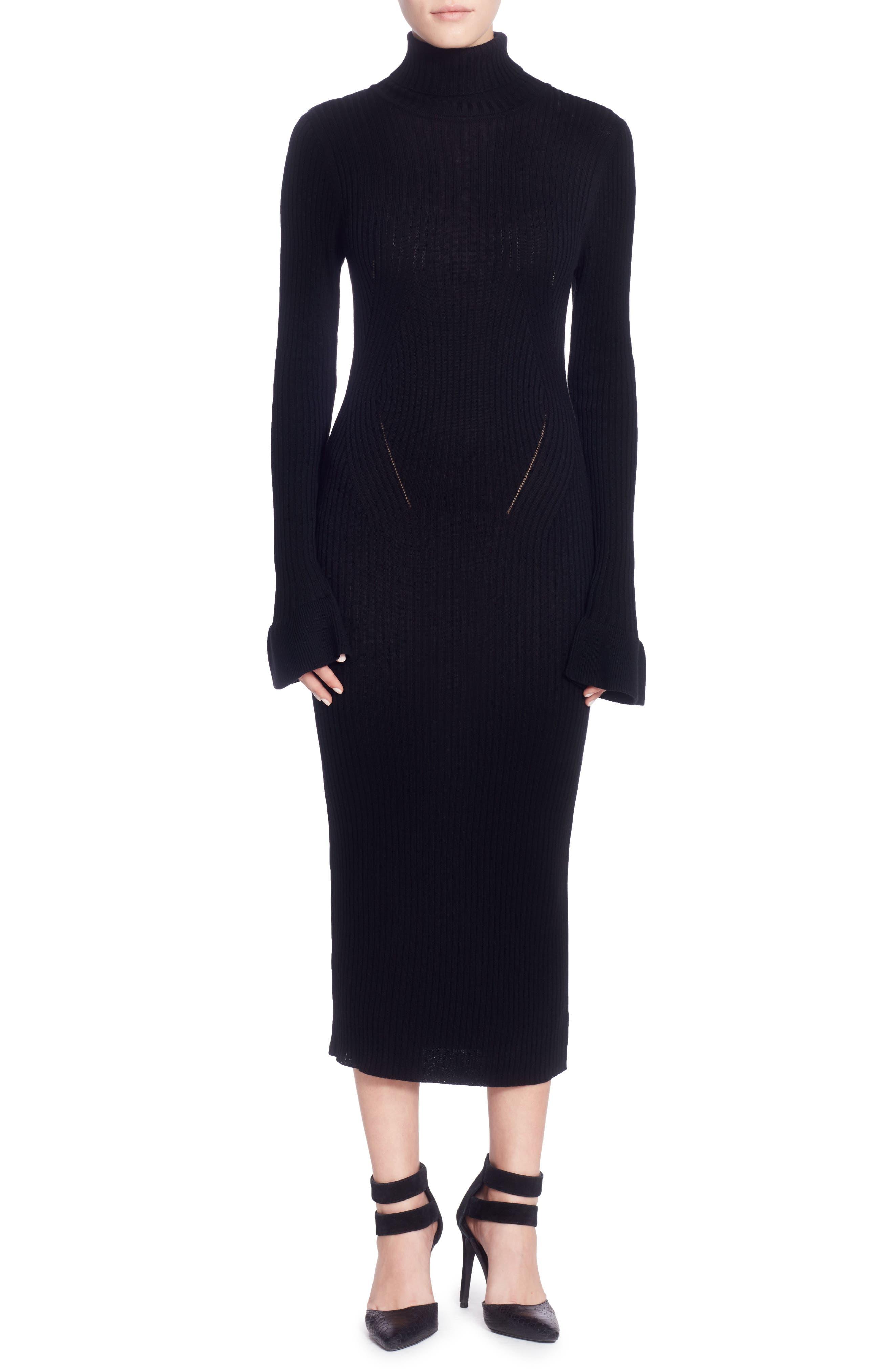 Camron Turtleneck Midi Dress,                             Main thumbnail 1, color,                             Black
