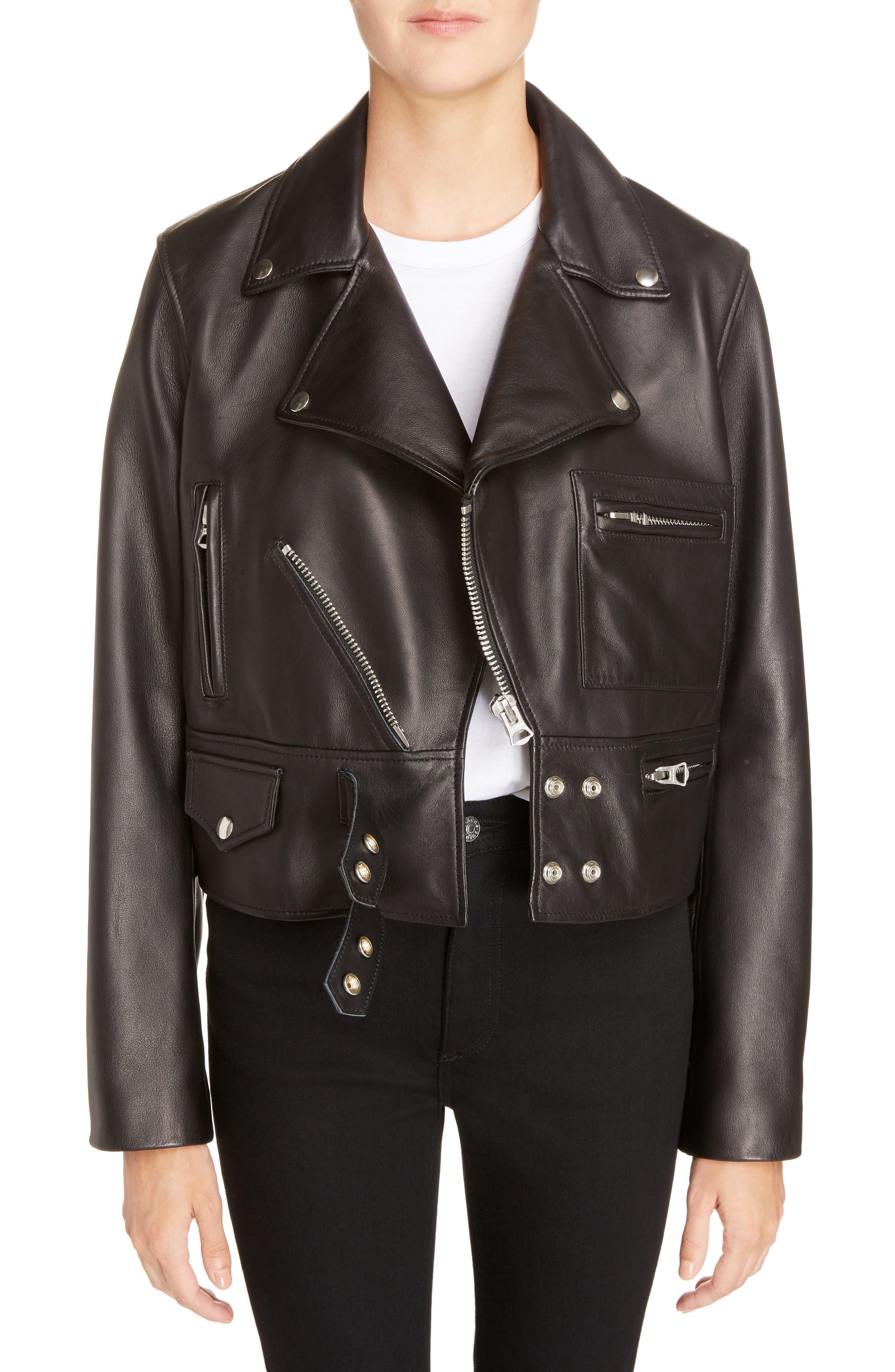Suokki Leather Moto Jacket,                         Main,                         color, Black