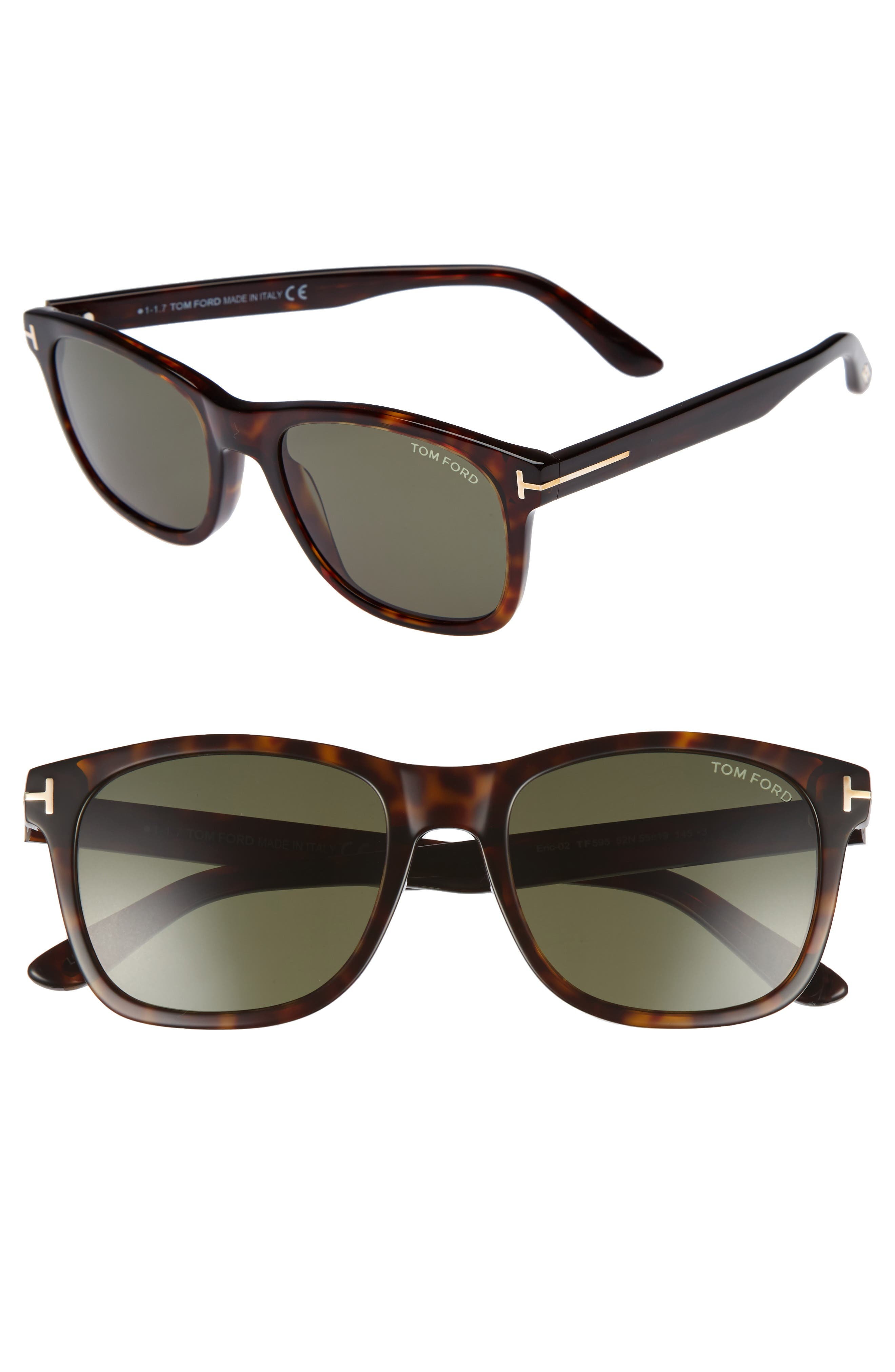 Eric 55mm Sunglasses,                         Main,                         color, Dark Havana/ Green