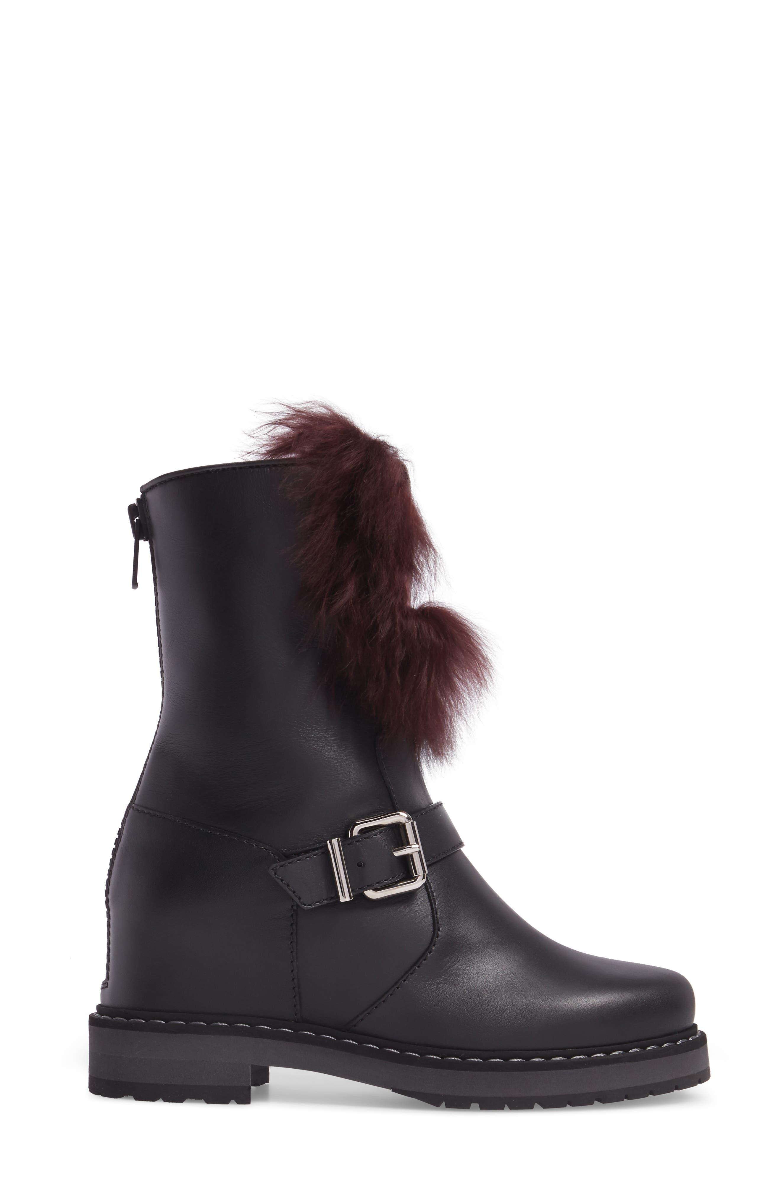 Caroline Genuine Alpaca Fur & Genuine Shearling Engineer Boot,                             Alternate thumbnail 3, color,                             Black/ Bordeaux