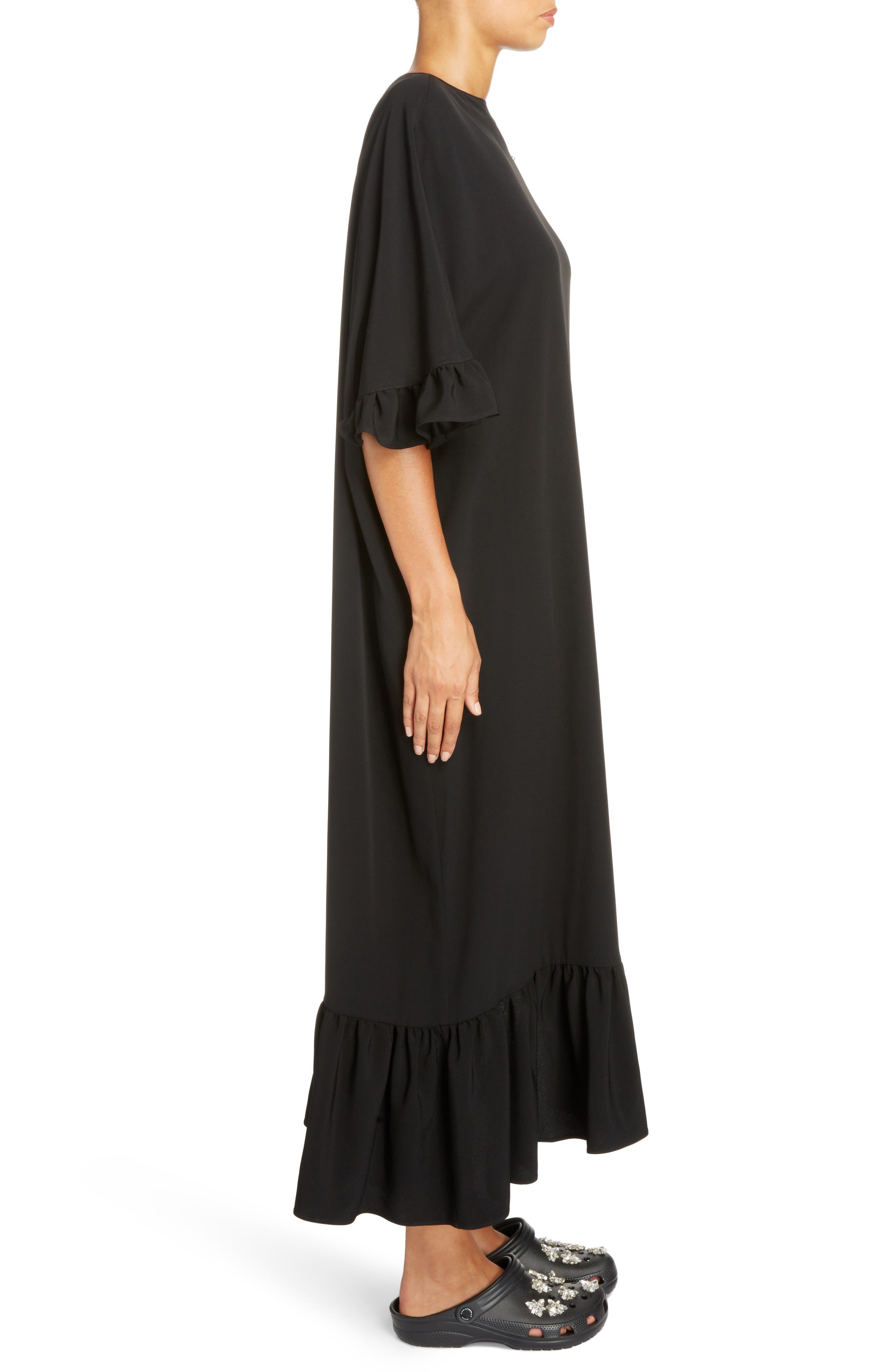 Crystal Embellished Frill Maxi Dress,                             Alternate thumbnail 3, color,                             Black