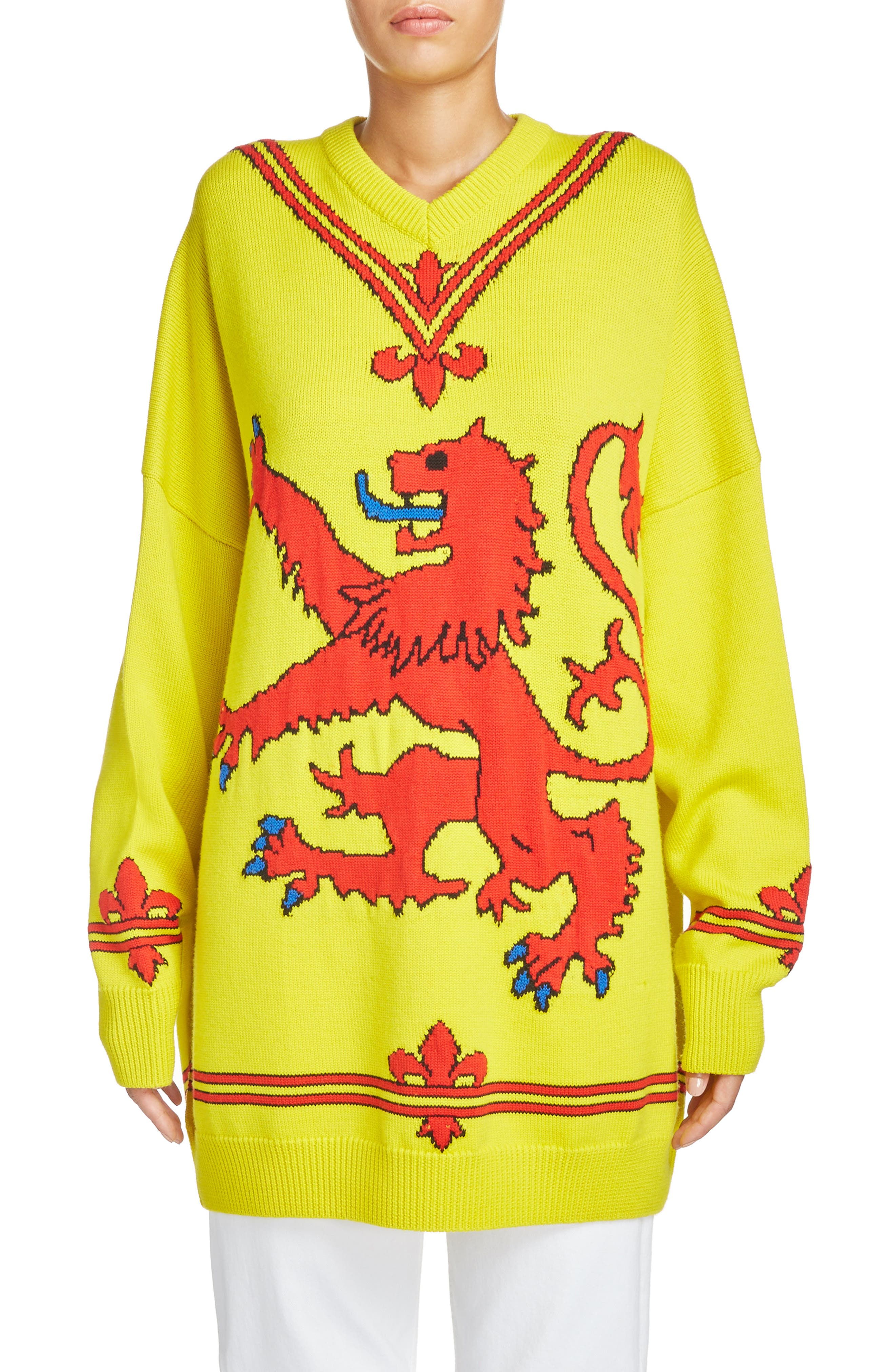 Lion Sweater,                             Main thumbnail 1, color,                             Yellow