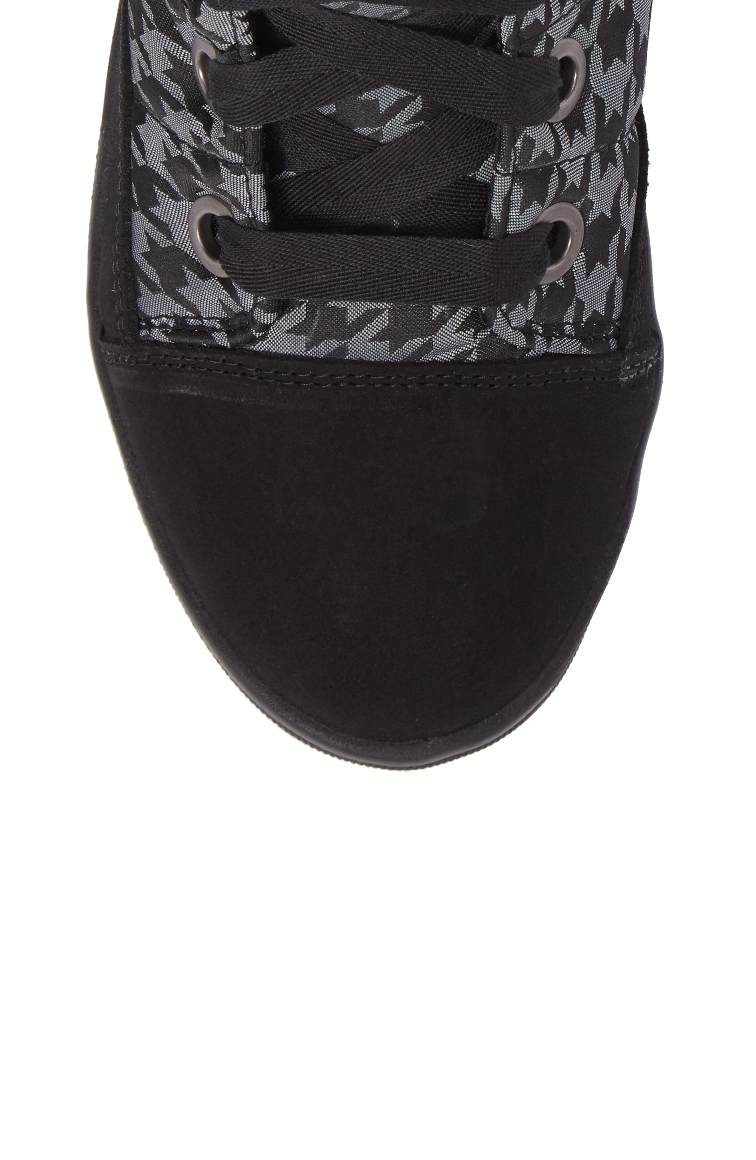 Meribel Waterproof Channel Quilted Lace Up Sneaker Boot,                             Alternate thumbnail 5, color,                             Black Pull Pied
