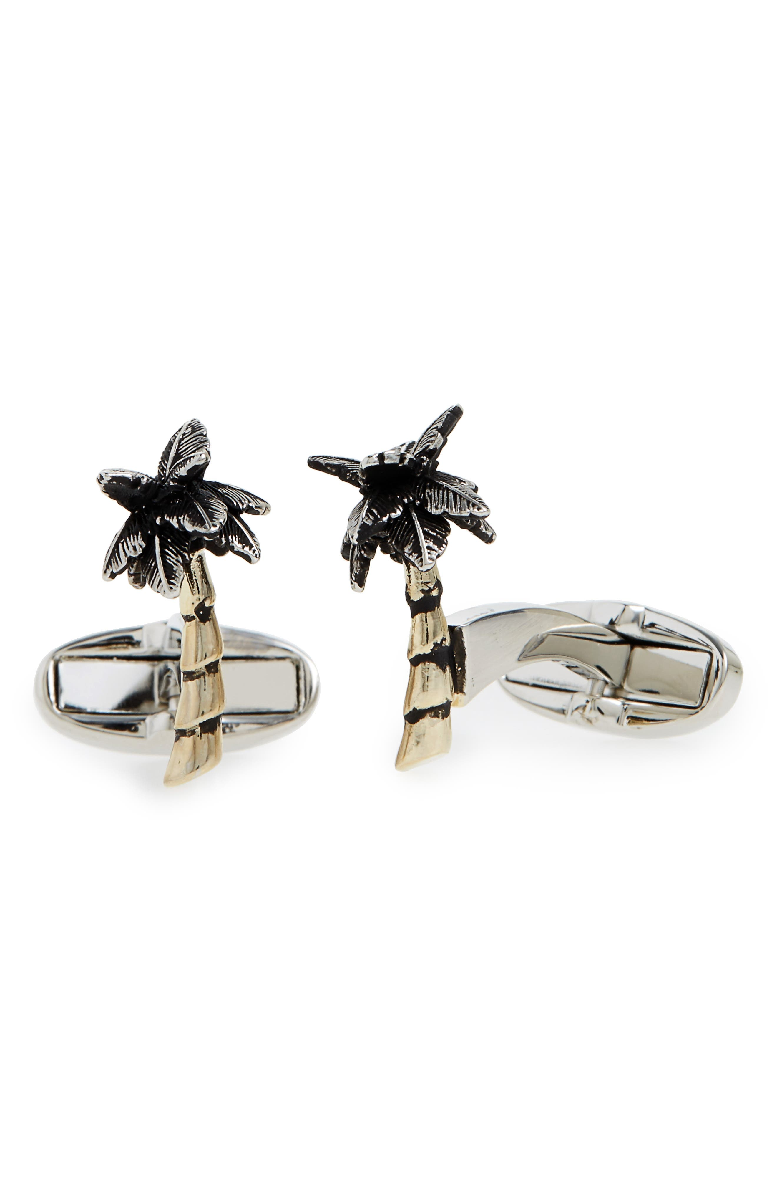 Palm Tree Cuff Links,                             Main thumbnail 1, color,                             Silver