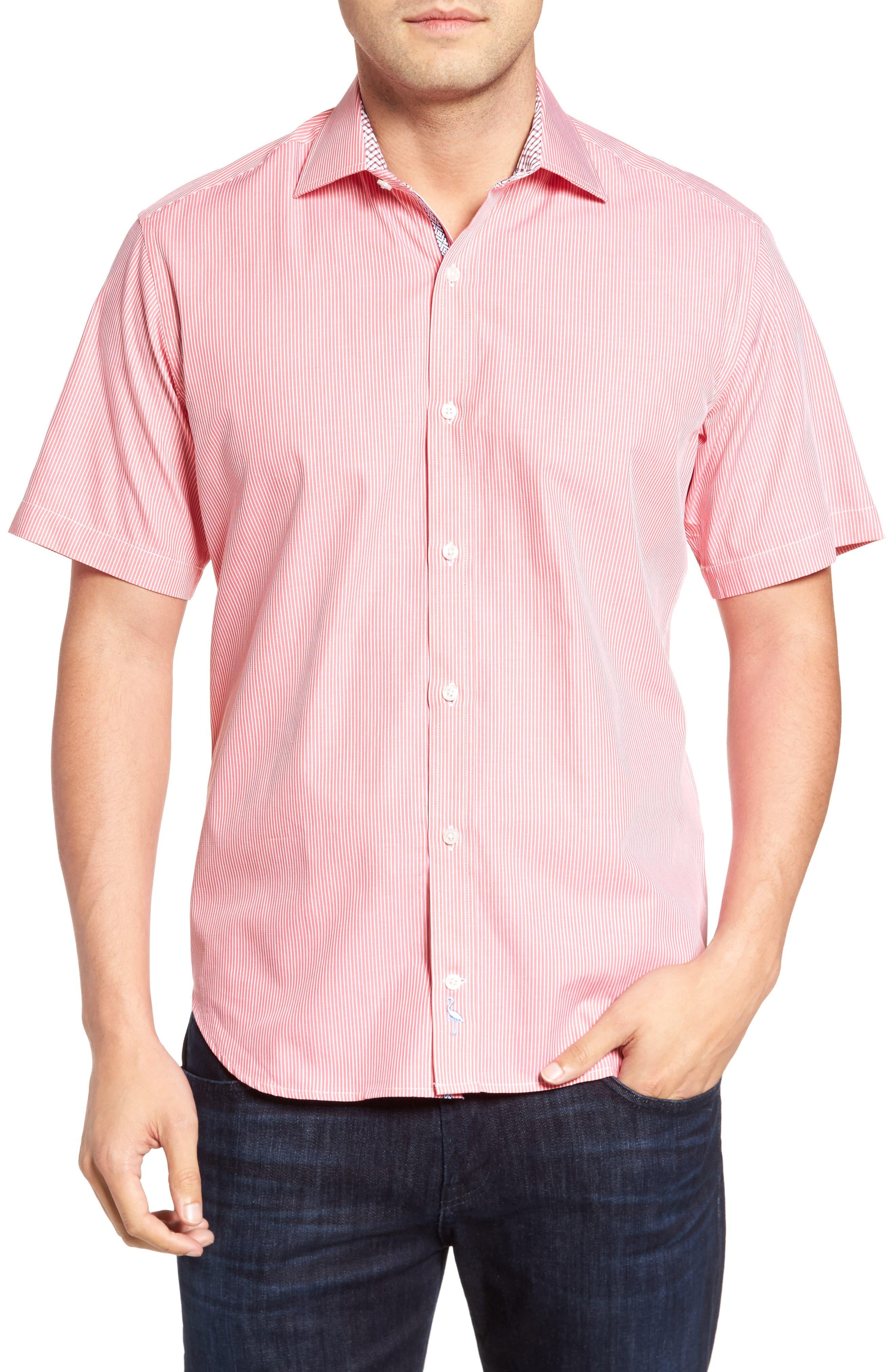 Many Regular Fit Stripe Sport Shirt,                             Main thumbnail 1, color,                             Coral