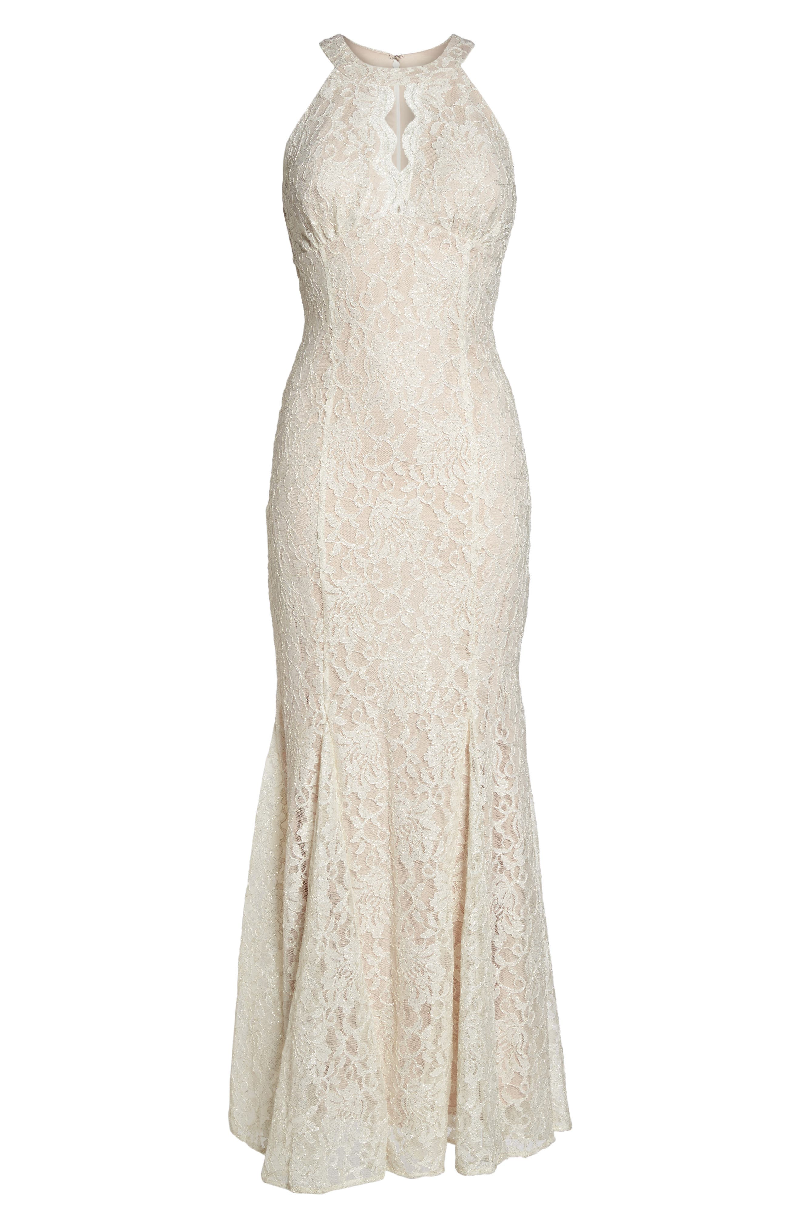 Scallop Detail Lace Gown,                             Alternate thumbnail 6, color,                             Ivory/ Nude