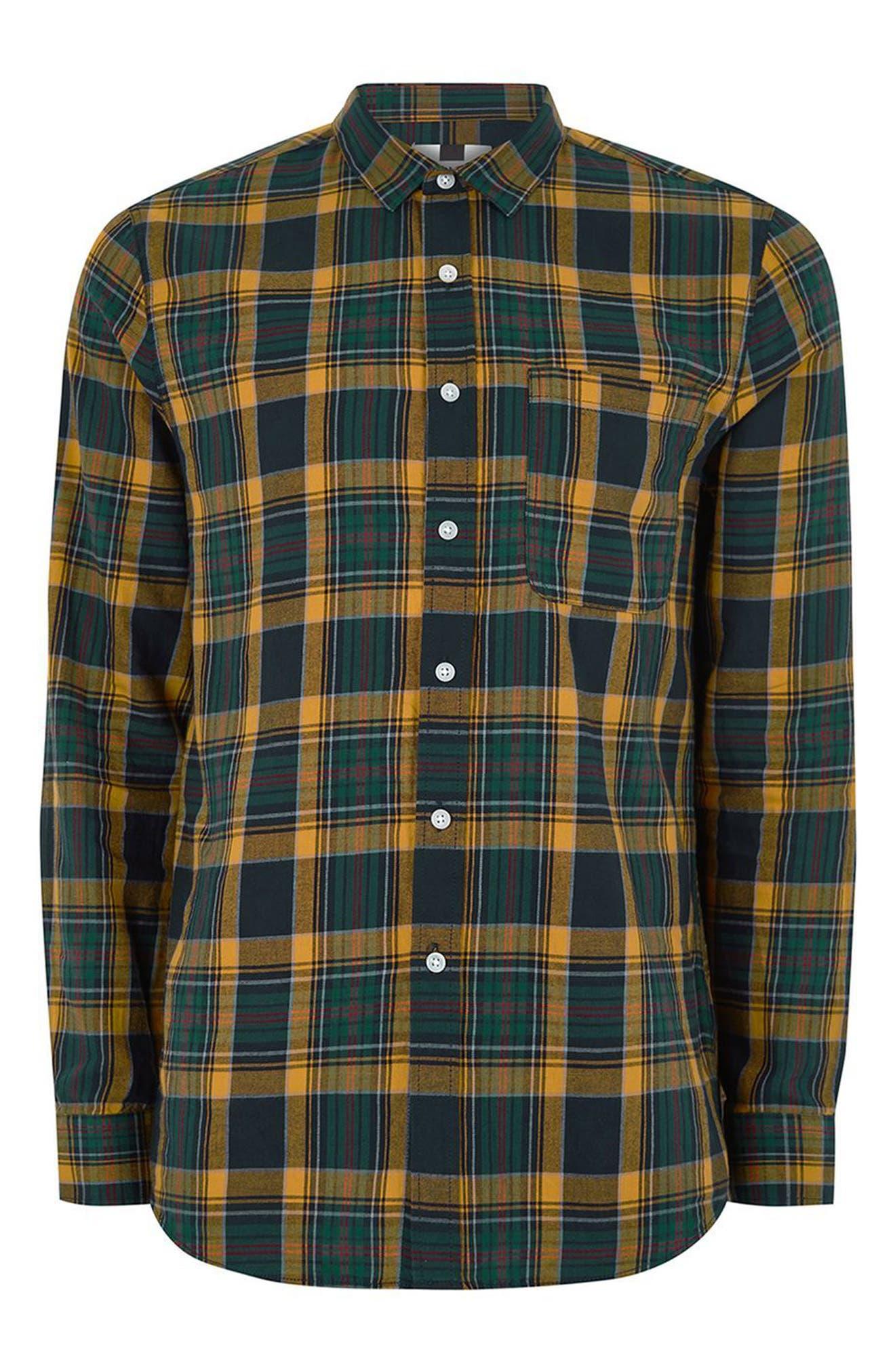 Trim Fit Check Shirt,                             Alternate thumbnail 4, color,                             Navy Blue Multi