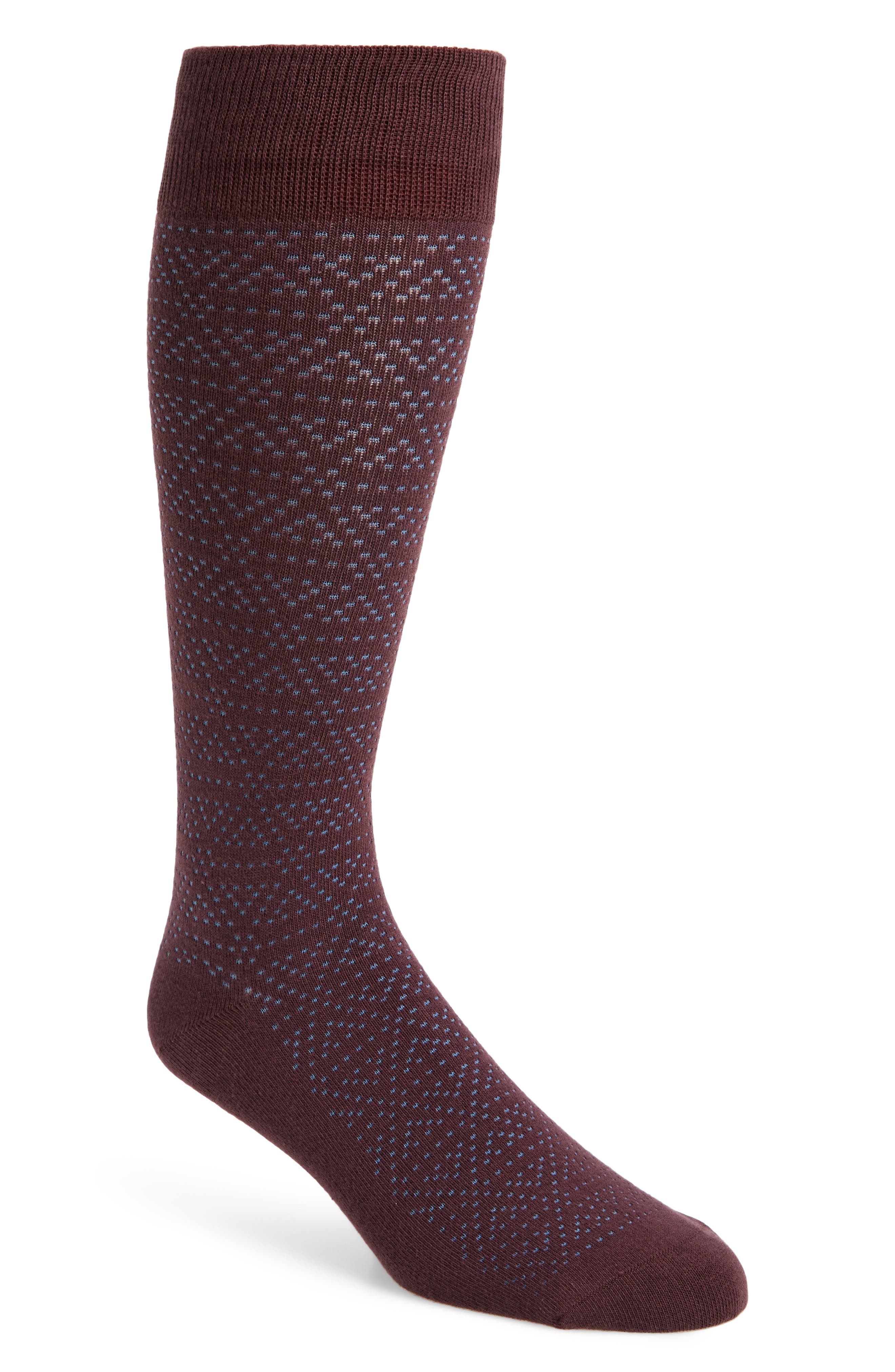 Plaited Triangle Socks,                             Main thumbnail 1, color,                             Burgundy